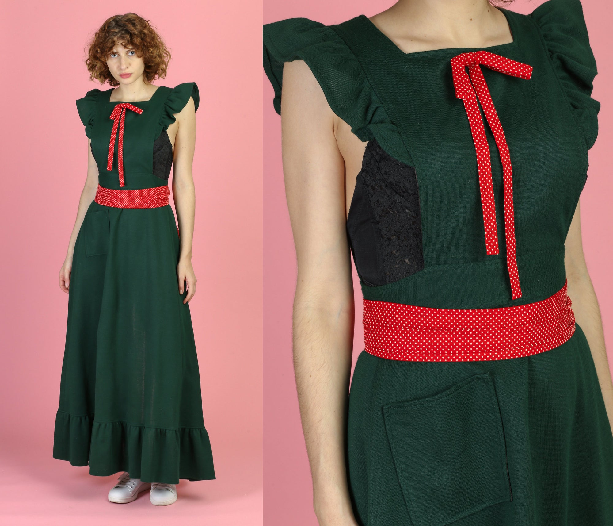 Vintage 60s Green & Red Holiday Hostess Apron - One Size