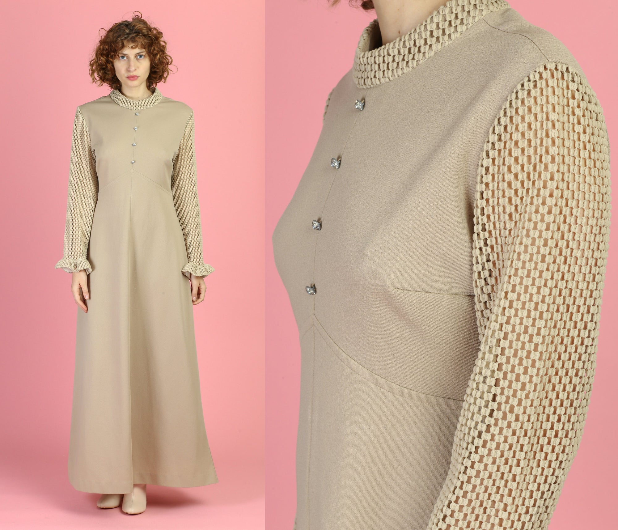 70s Taupe Mesh Sleeve Maxi Dress - Large to XL