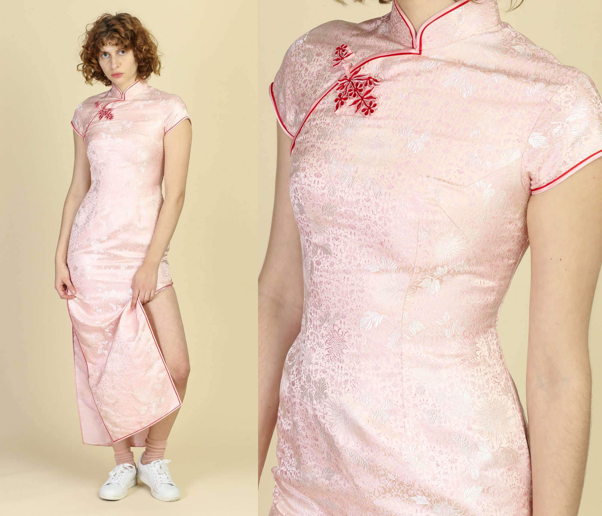 Vintage Pink Floral Cheongsam Maxi Dress - Small