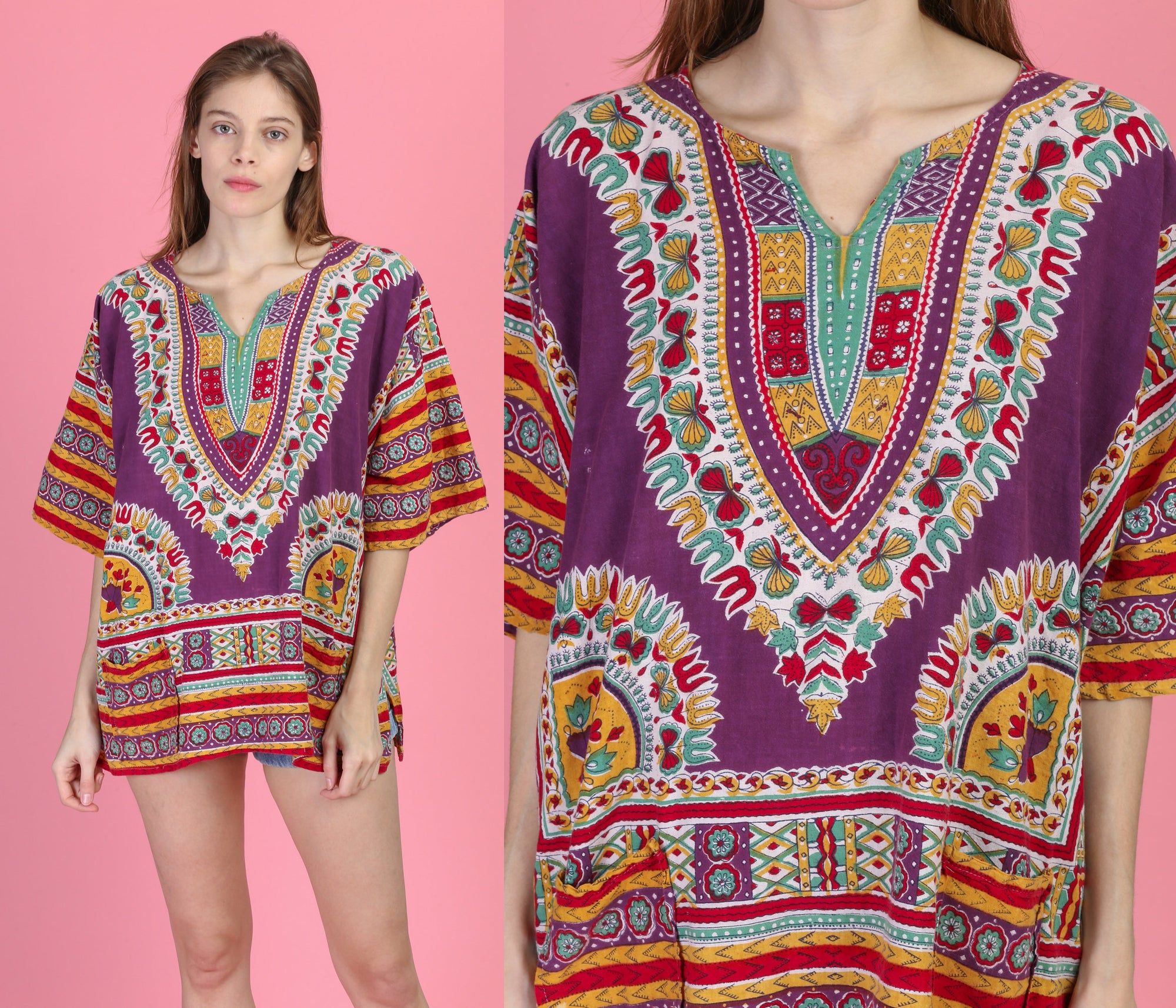 Vintage Boho Dashiki Tunic Top - 2XL