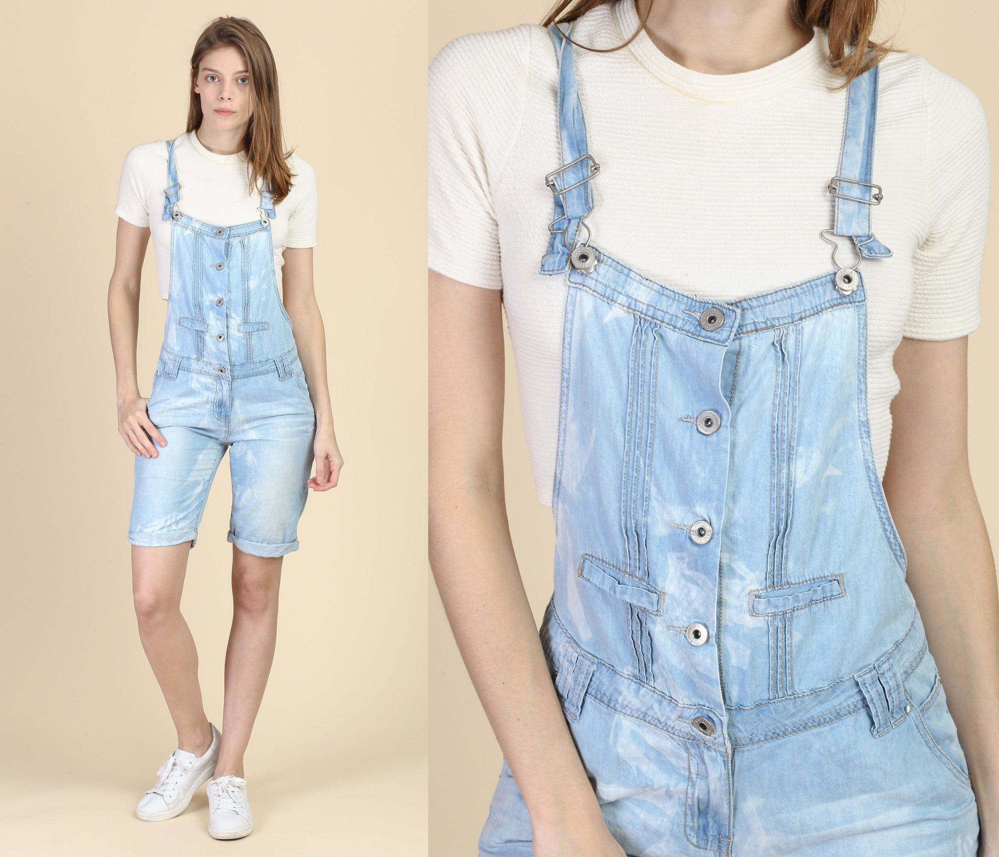 Vintage Bleached Chambray Overall Shorts - Extra Small