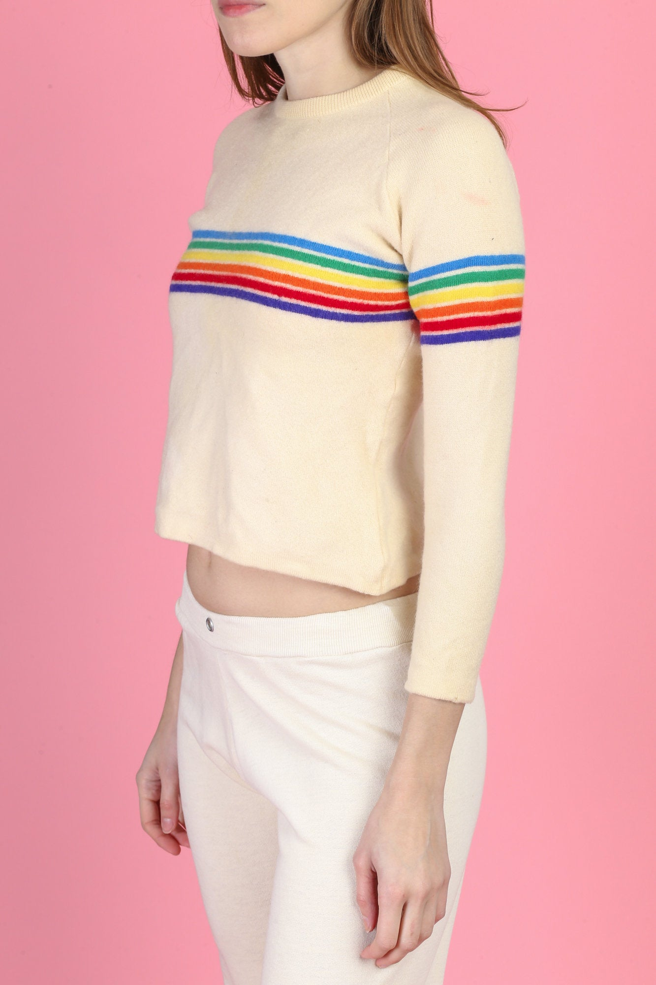 70s Meister Rainbow Stripe Sweater - XXS