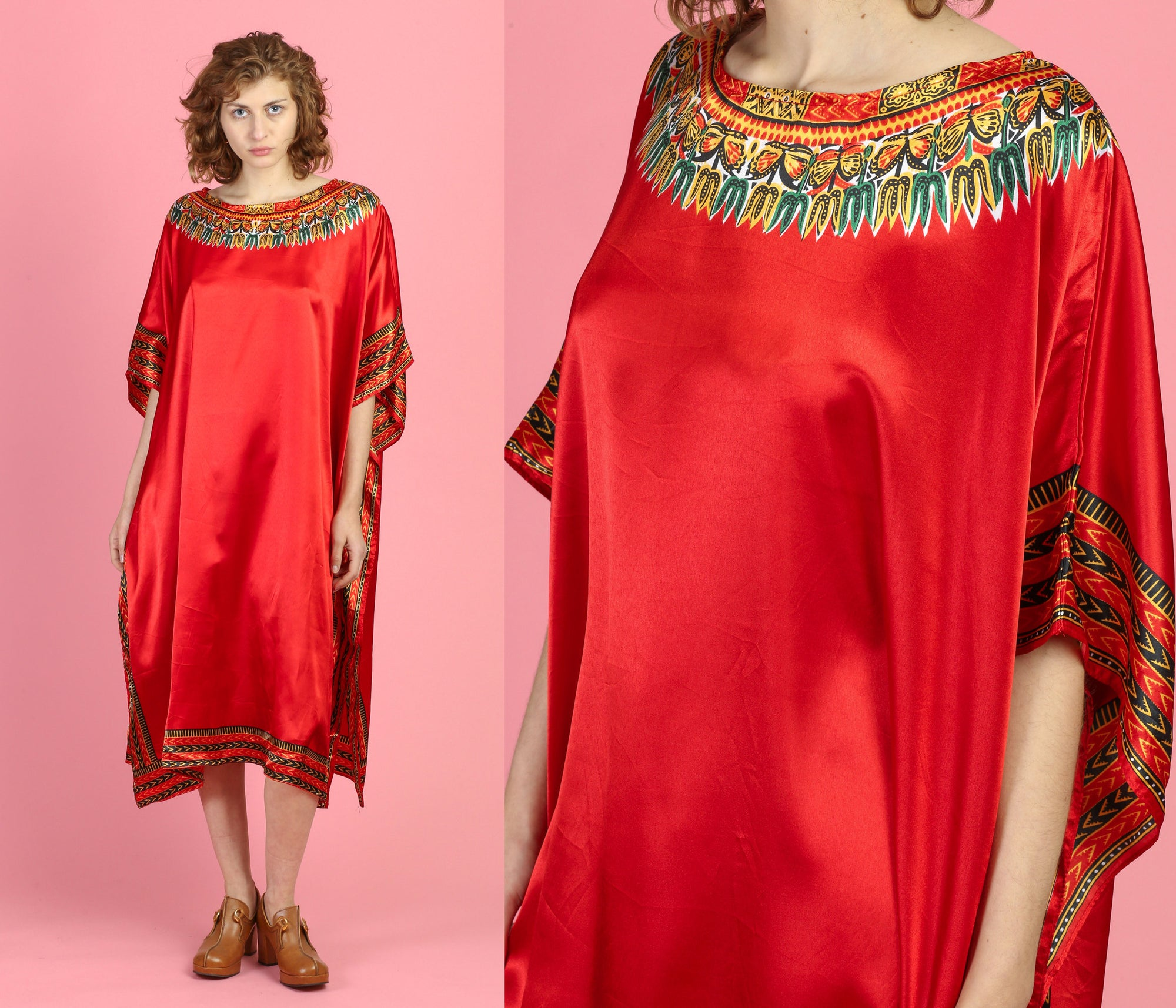 Vintage Red Satin Boho Caftan - One Size