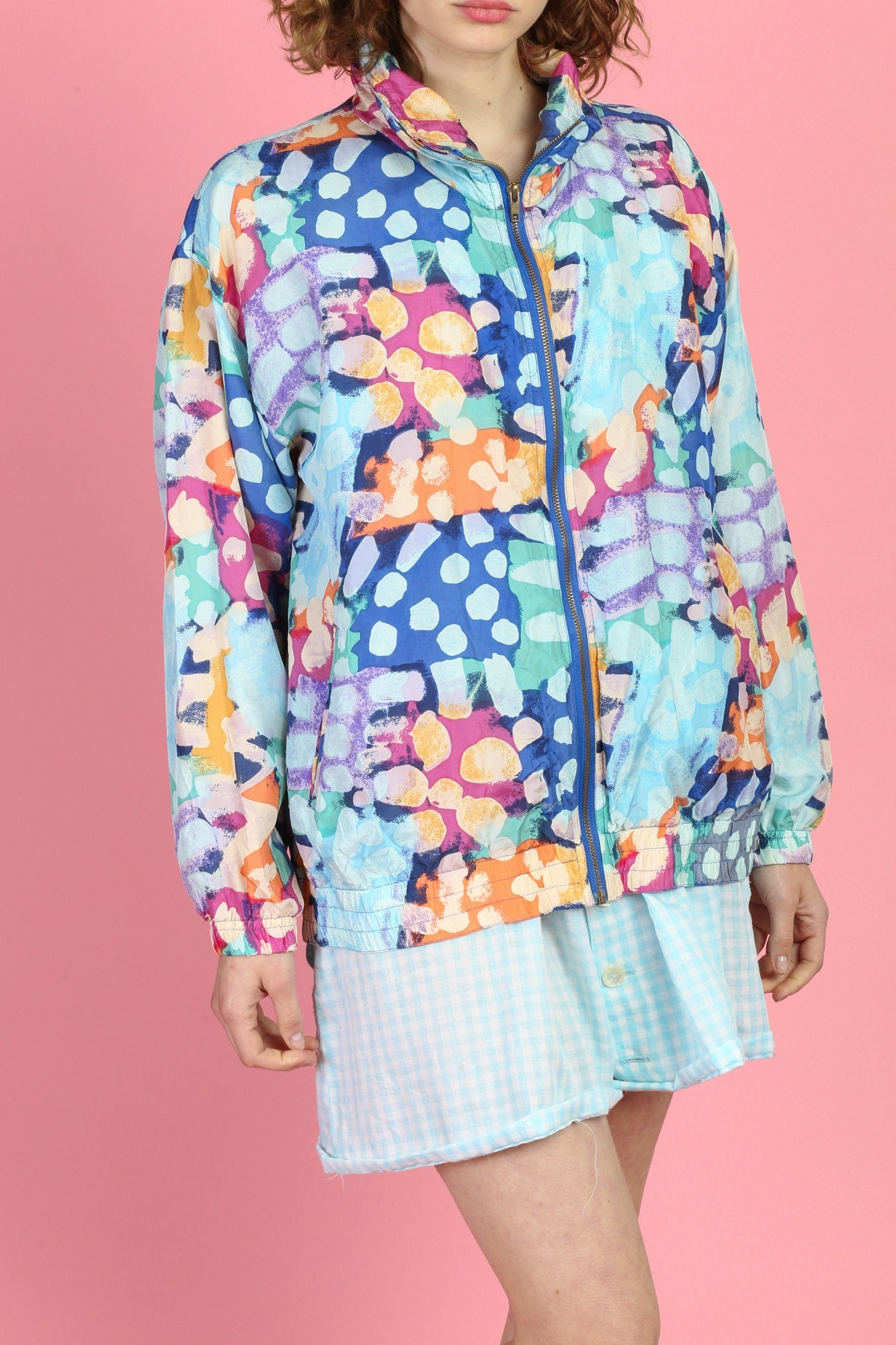 90s Colorful Silk Windbreaker - Medium