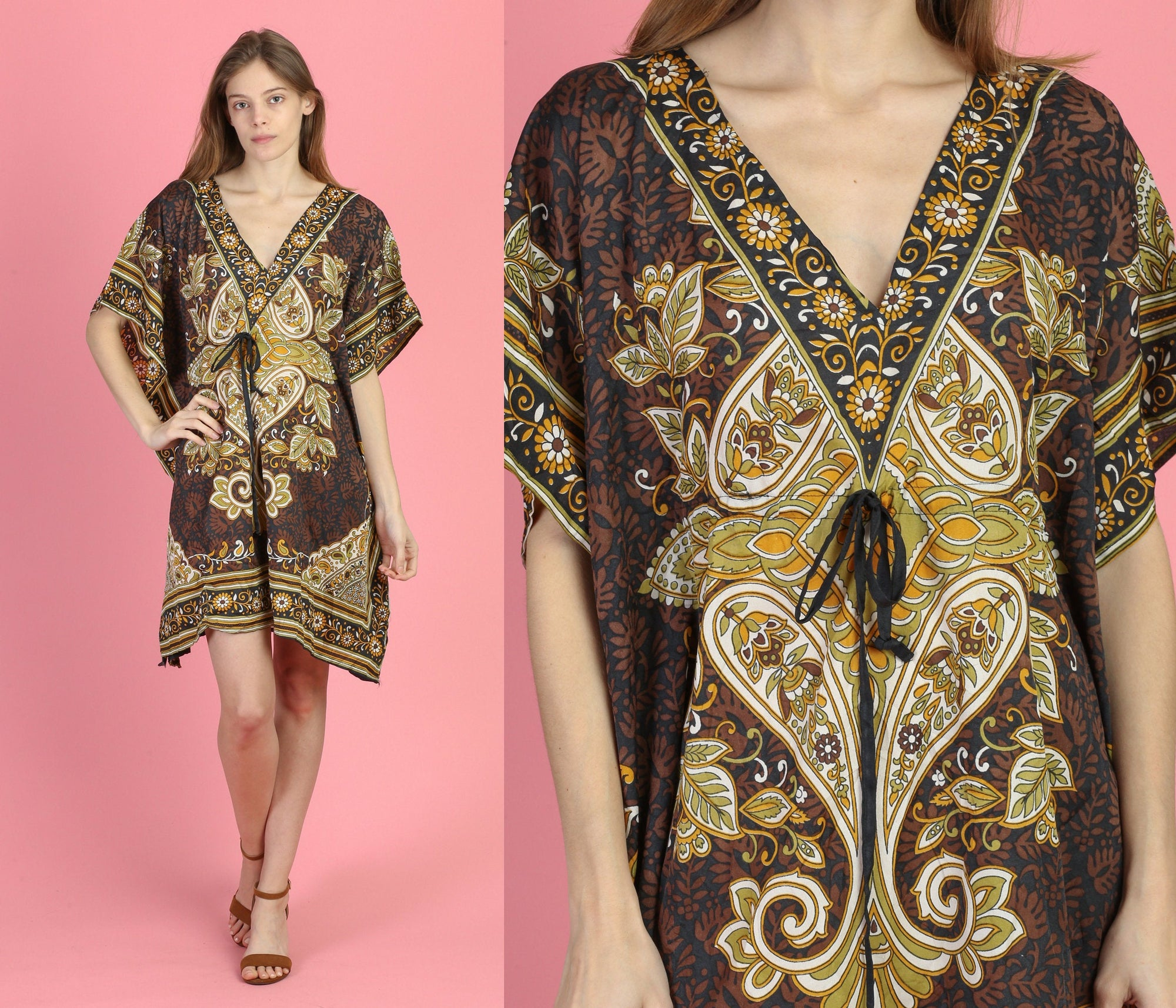 Vintage Boho Mini Kaftan Dress - One Size