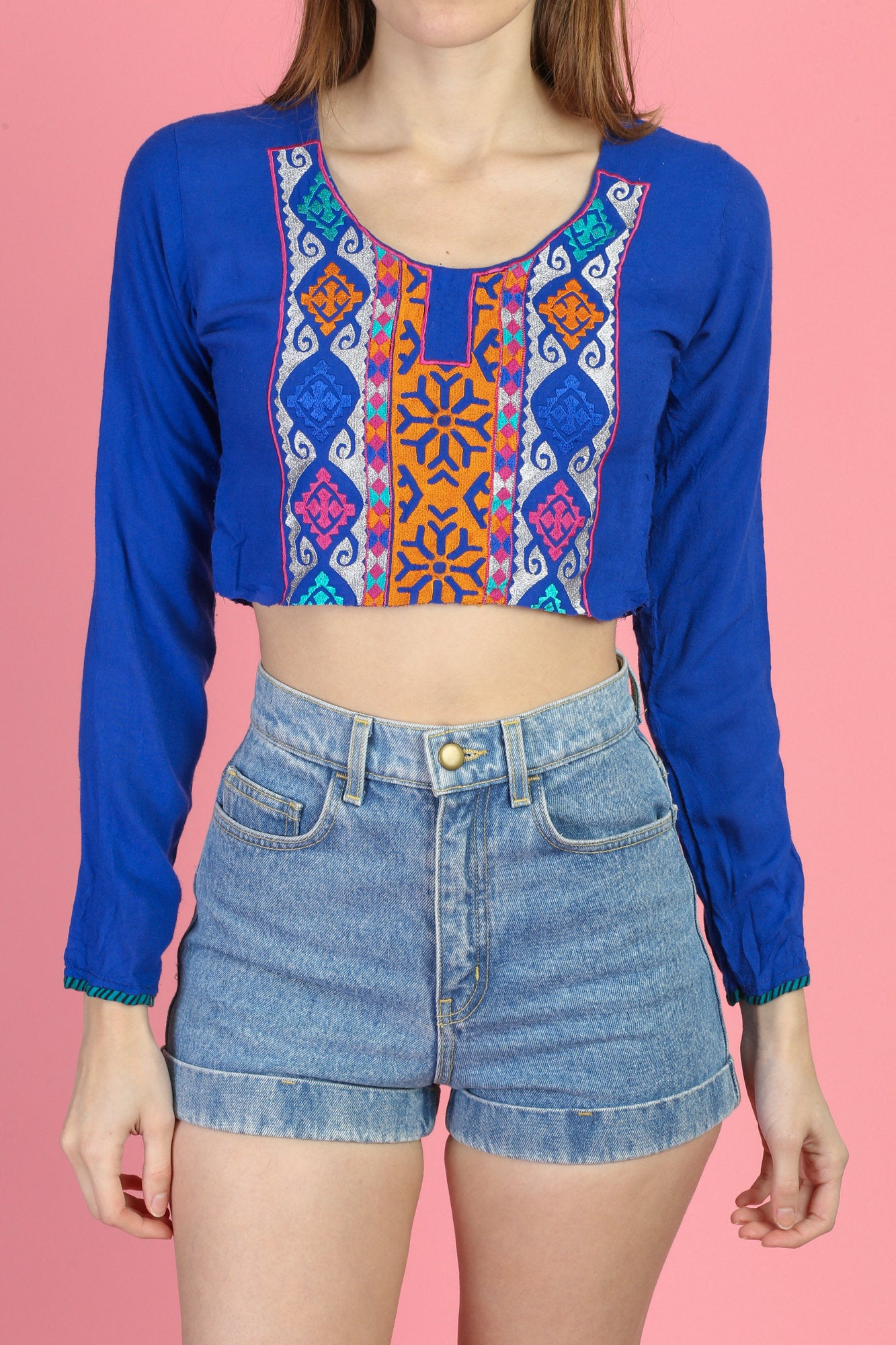 Vintage Boho Embroidered Crop Top - Extra Small