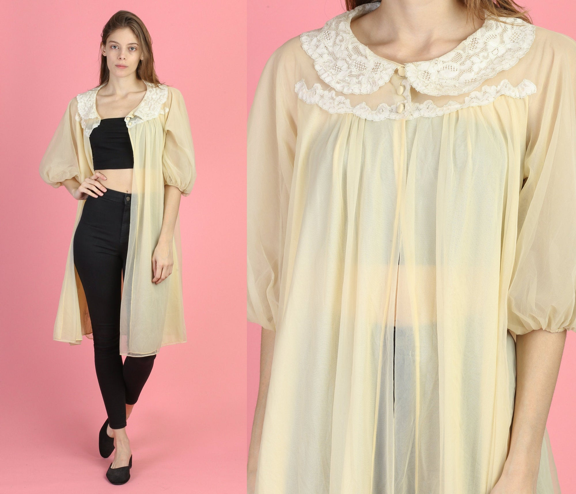 60s Sheer Peignoir Robe - Small
