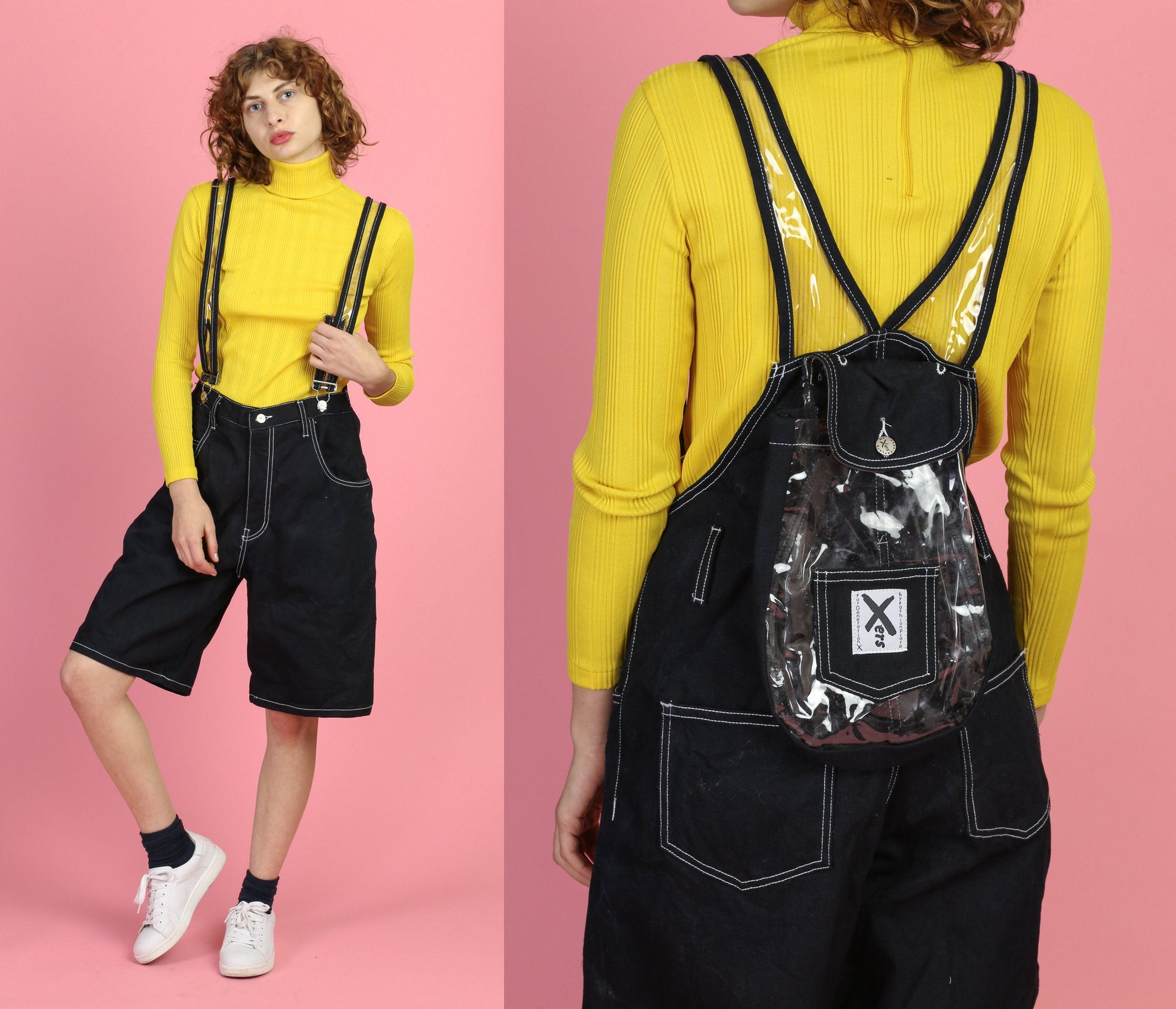90s Xers Black Denim & PVC Backpack Overall Shorts, Deadstock - Large, Extra Large
