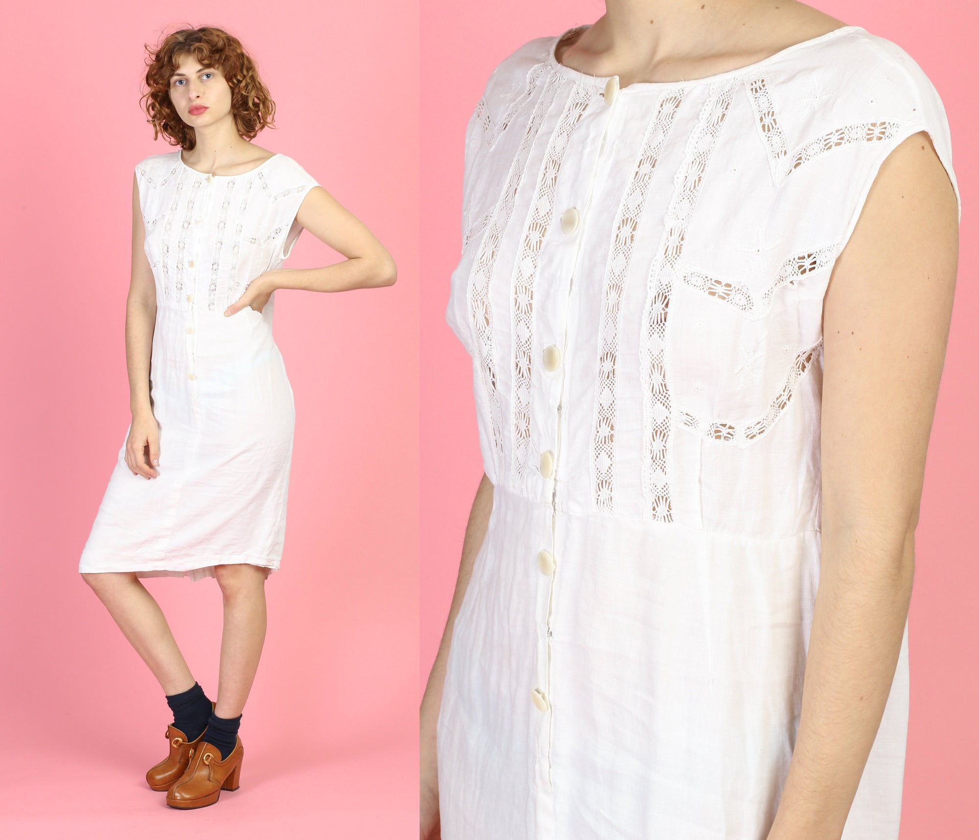 60s White Eyelet Cotton Dress - Large