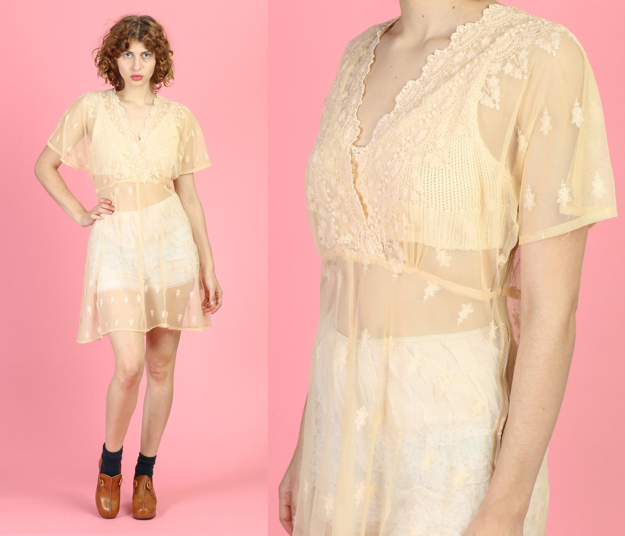 Vintage Peach Sheer Lace Festival Dress - Large to XL