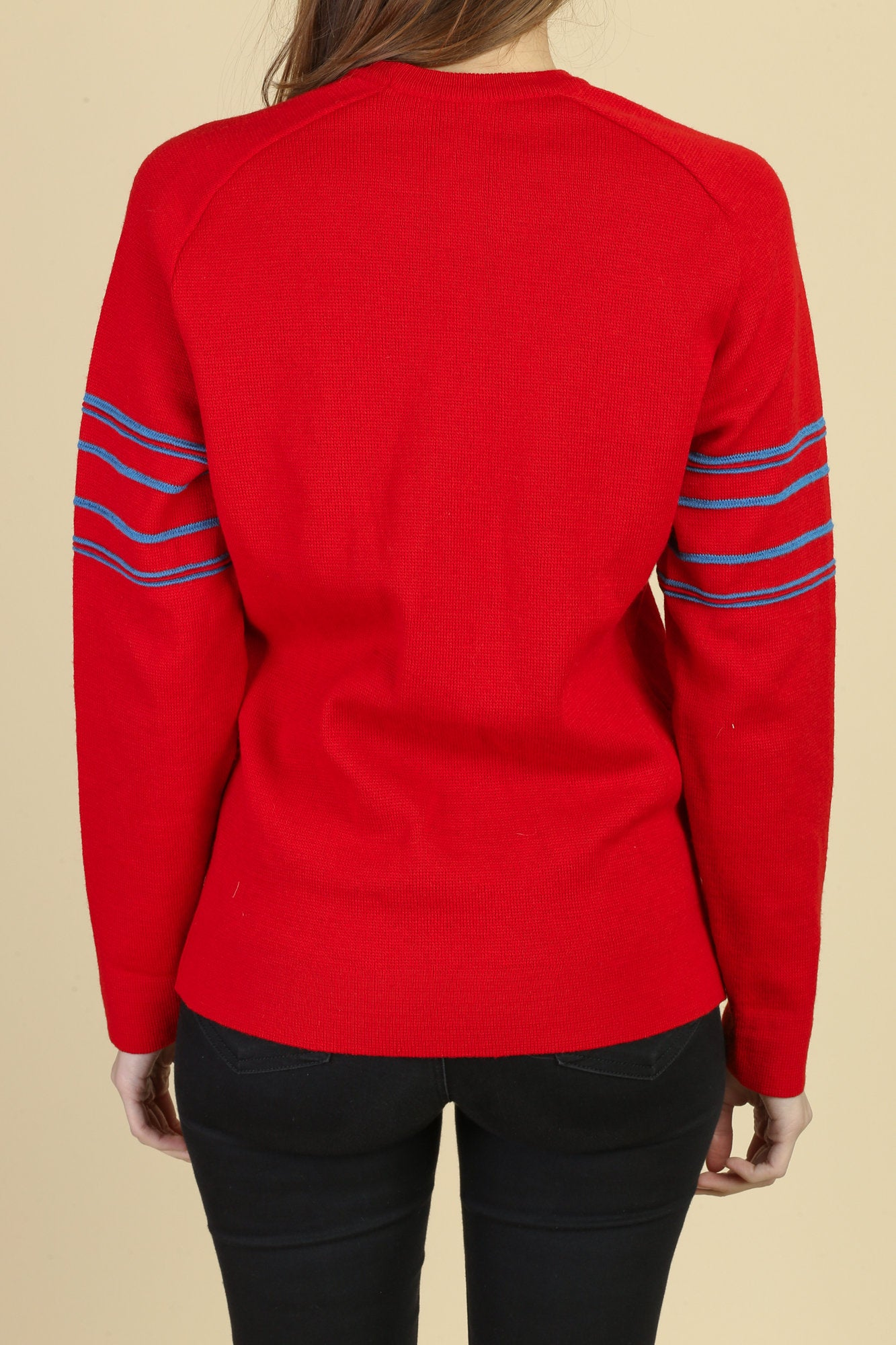 70s Striped Knit Ski Sweater - Medium