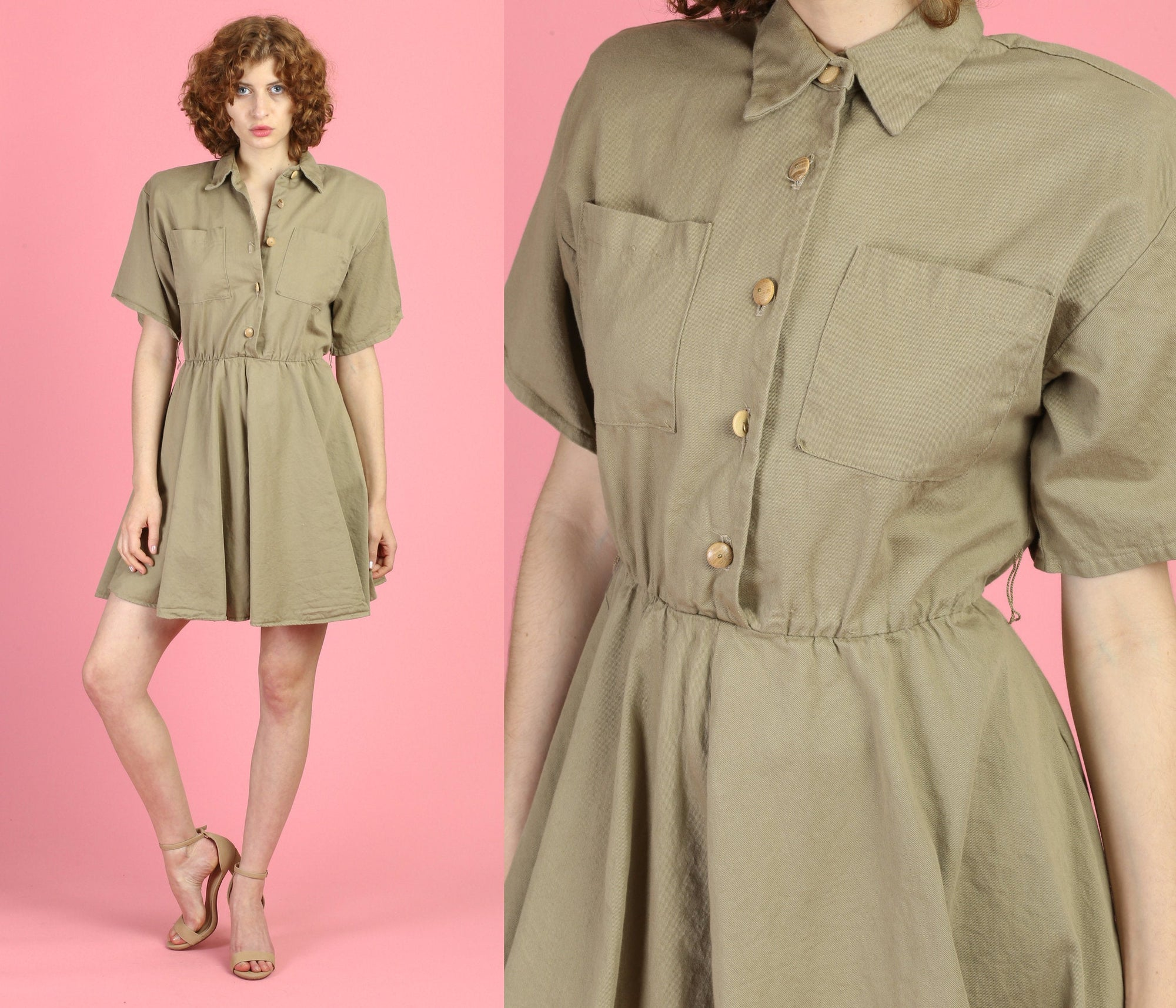 90s Khaki Cargo Dress - Small
