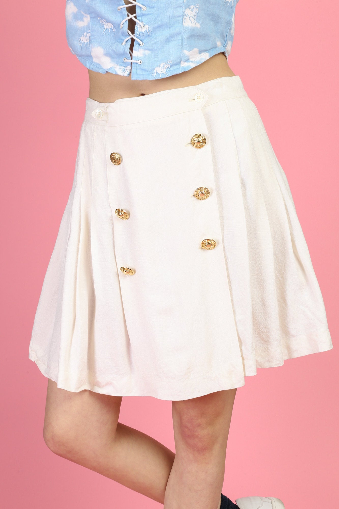 Vintage Pleated Gold Button Skirt - Medium
