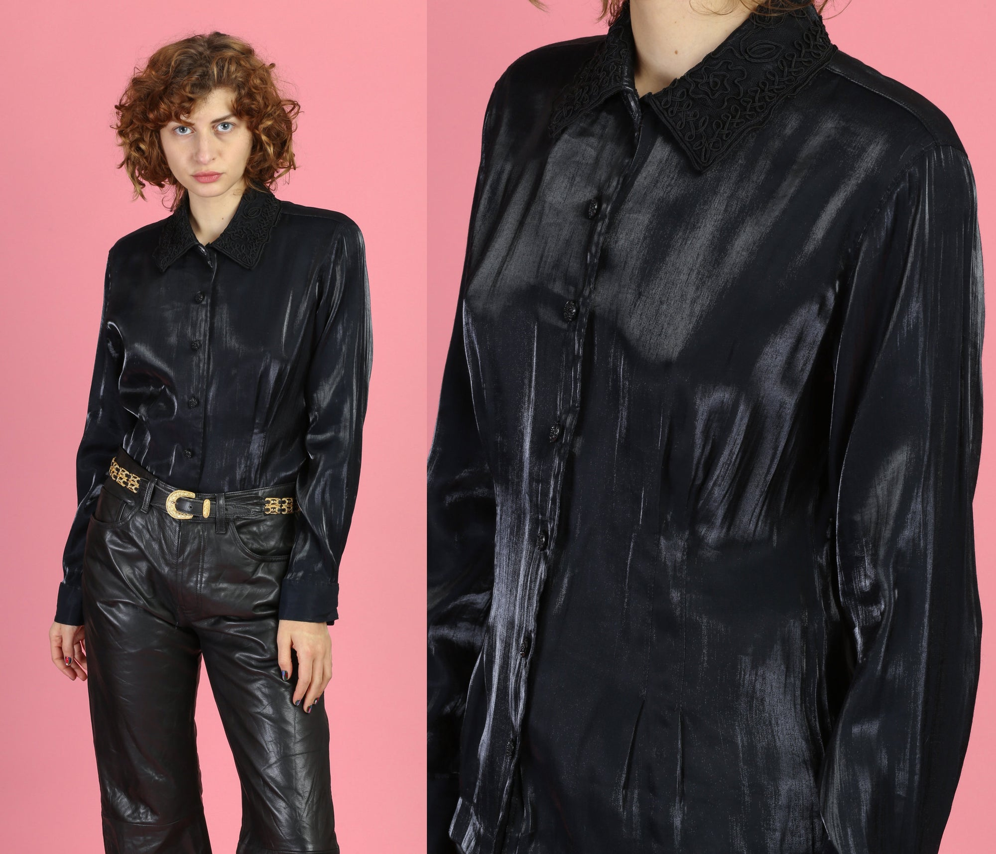 90s Black Wet Look Button Up - Medium