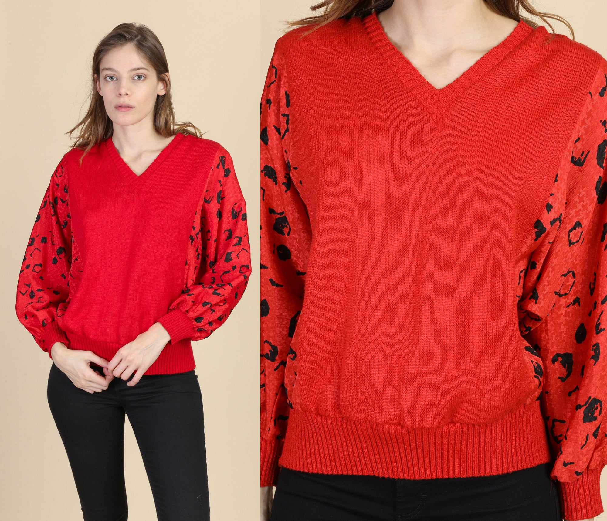 80s Red Batwing Sleeve Sweater - Medium