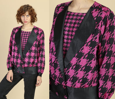80s Black & Fuschia Houndstooth Top - Large