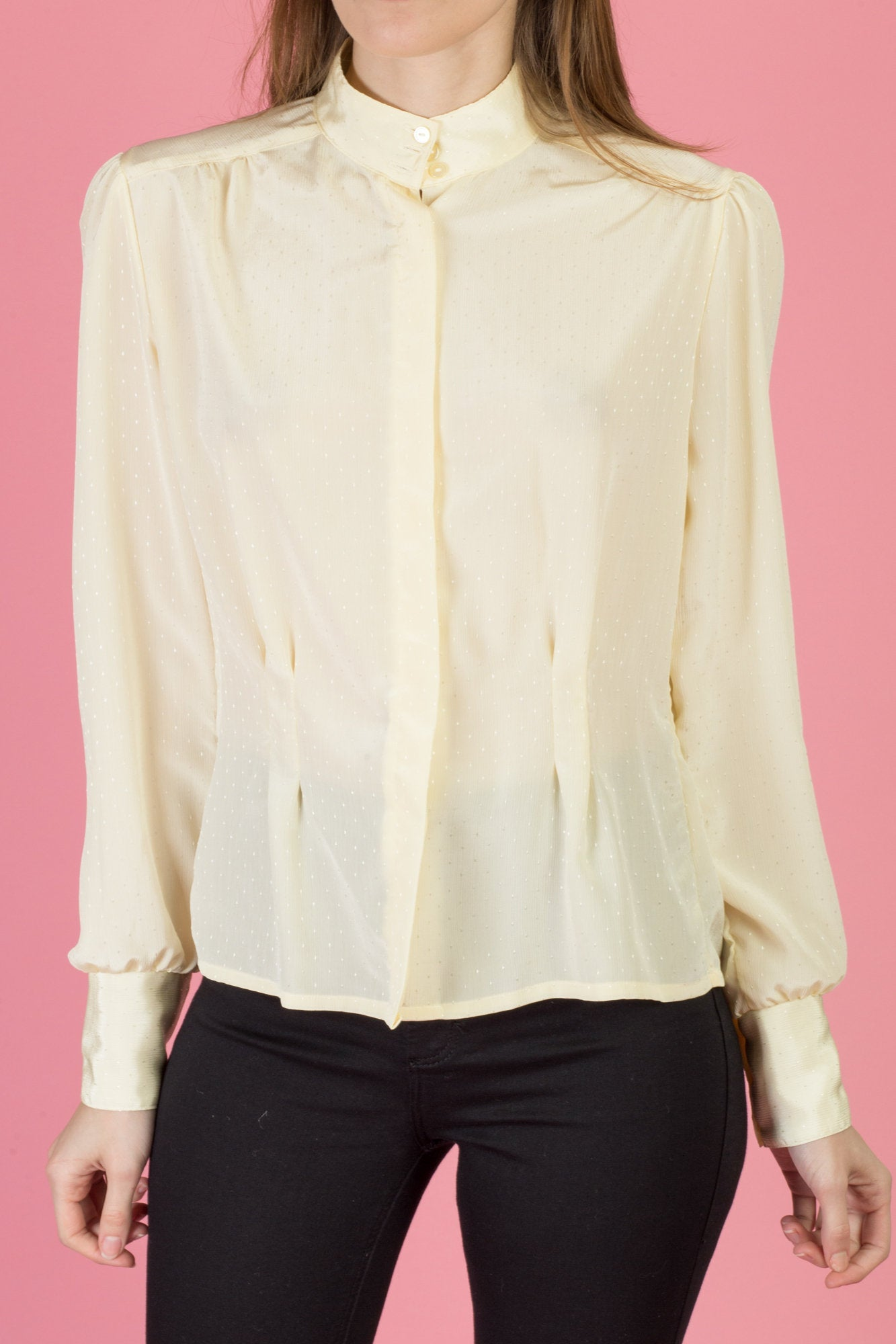 80s Ivory Button Up Nipped Waist Blouse - Medium