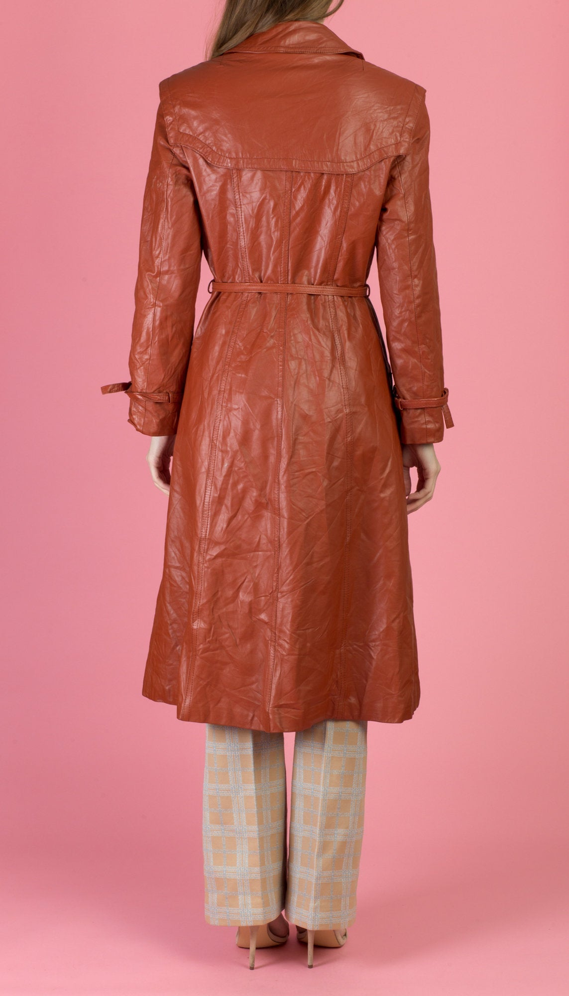 70s Boho Leather Trench Coat - Extra Small