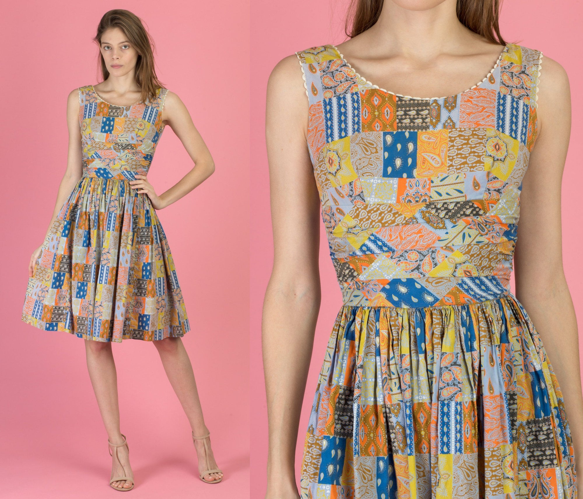 50s Boho Patchwork Print Fit & Flare Dress - XXS to XS