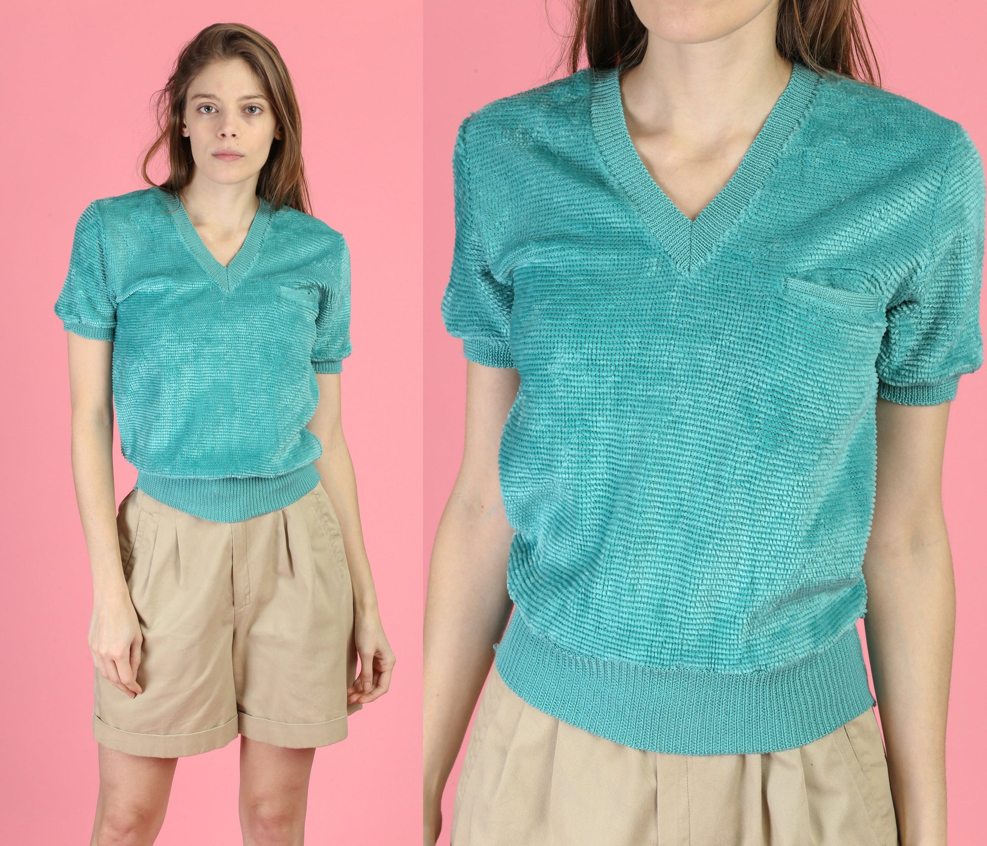 80s Teal Velour Crop Top - Small to Medium