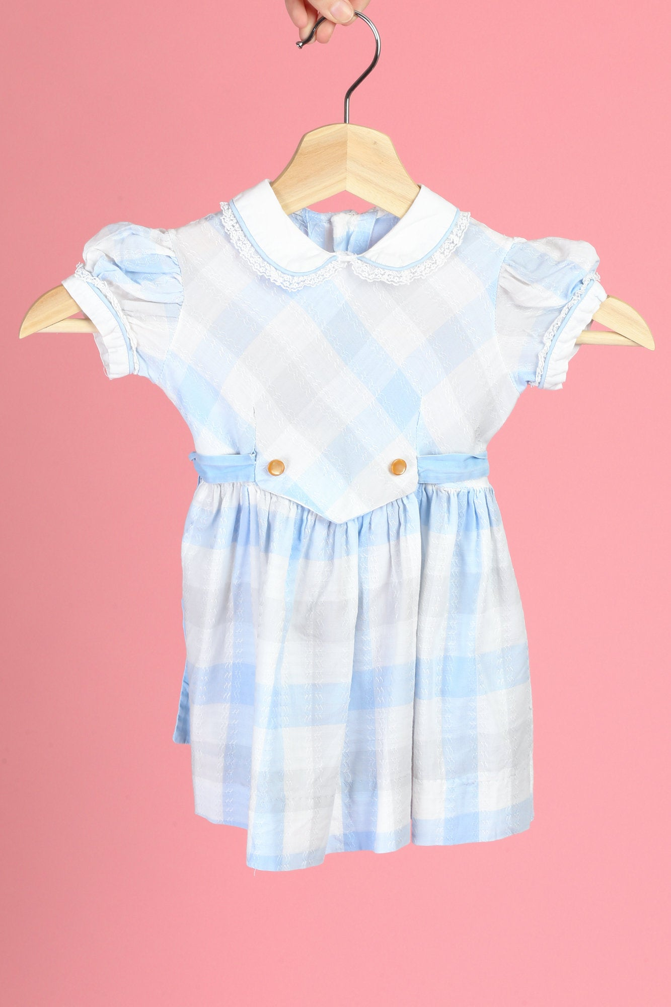 60s Baby Girl's Gingham Peter Pan Collar Dress - 18-24 Months