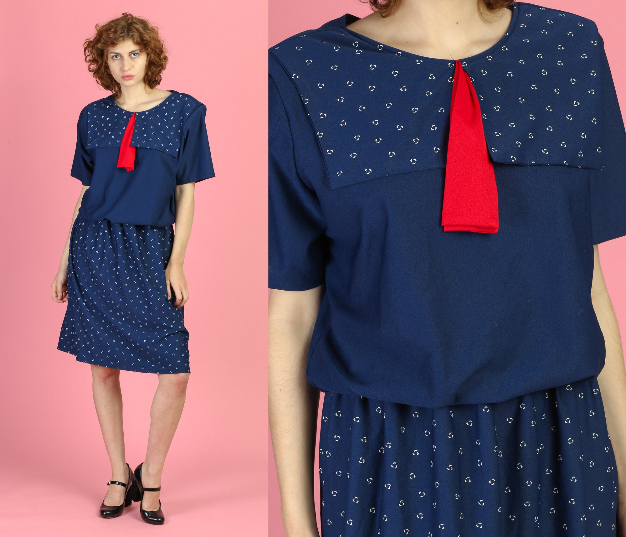 80s Sailor Collar Blouson Secretary Dress - 2XL
