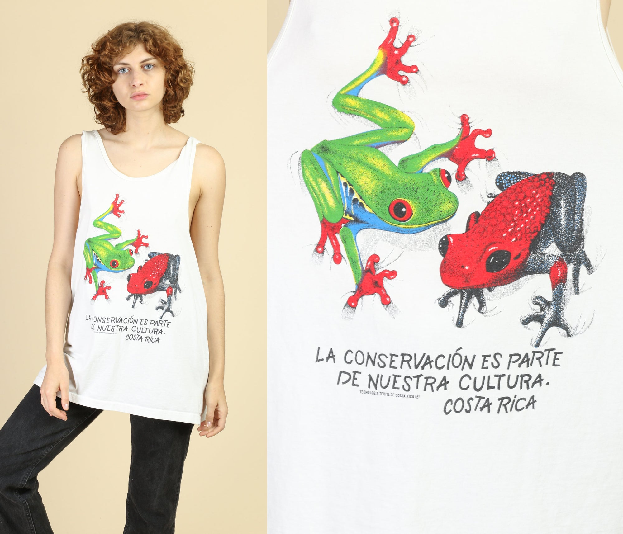 90s Costa Rica Tree Frog Conservation Tank Top - XXL