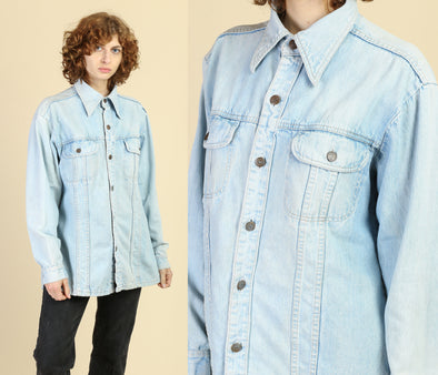70s Light Wash Denim Shirt - Men's Large