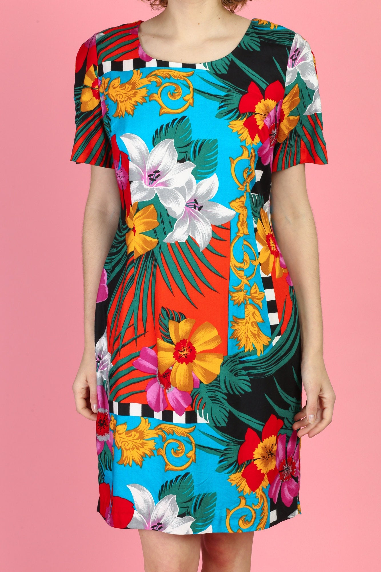 80s Tropical Floral Sheath Dress - Large