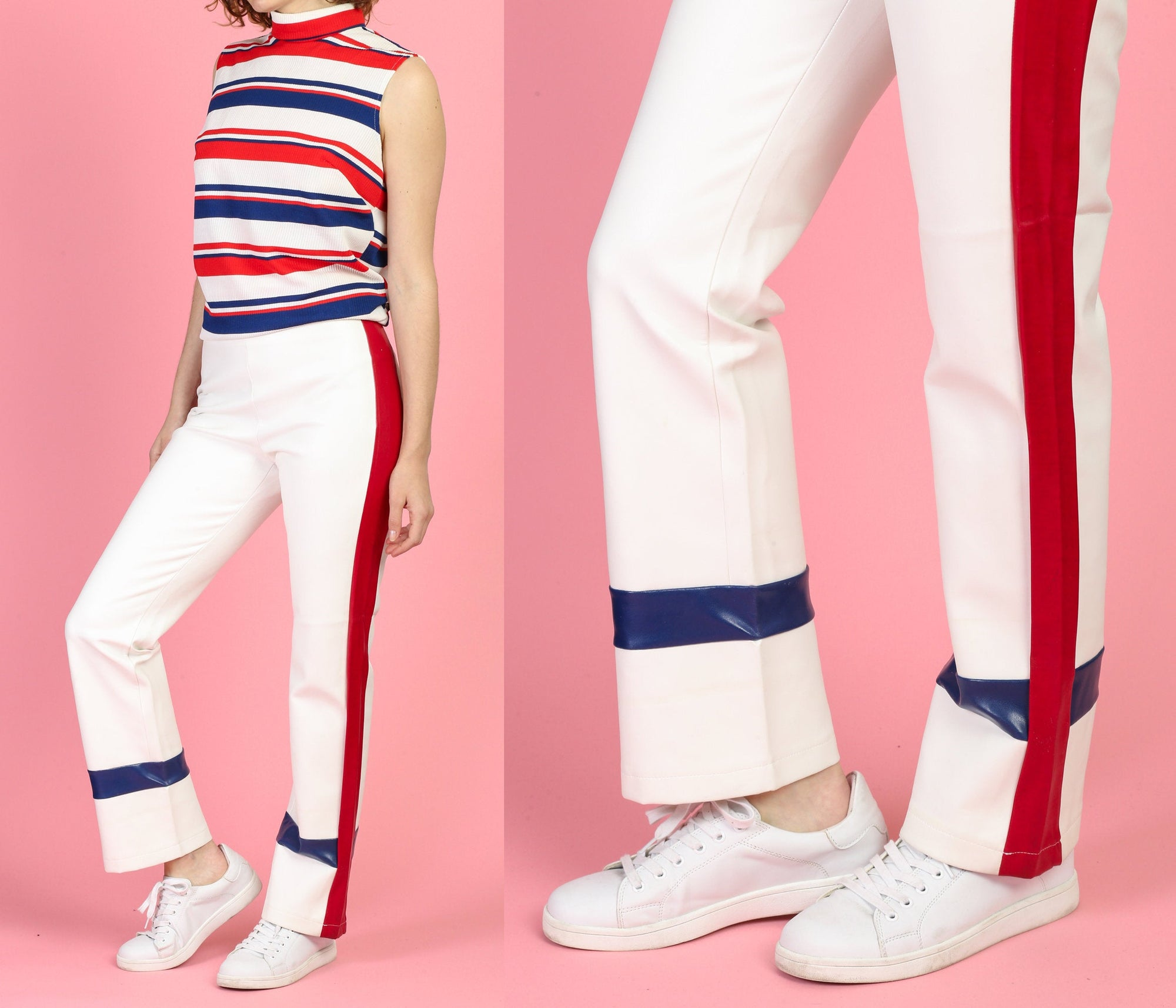 90s Red White & Blue PVC Pants - Medium