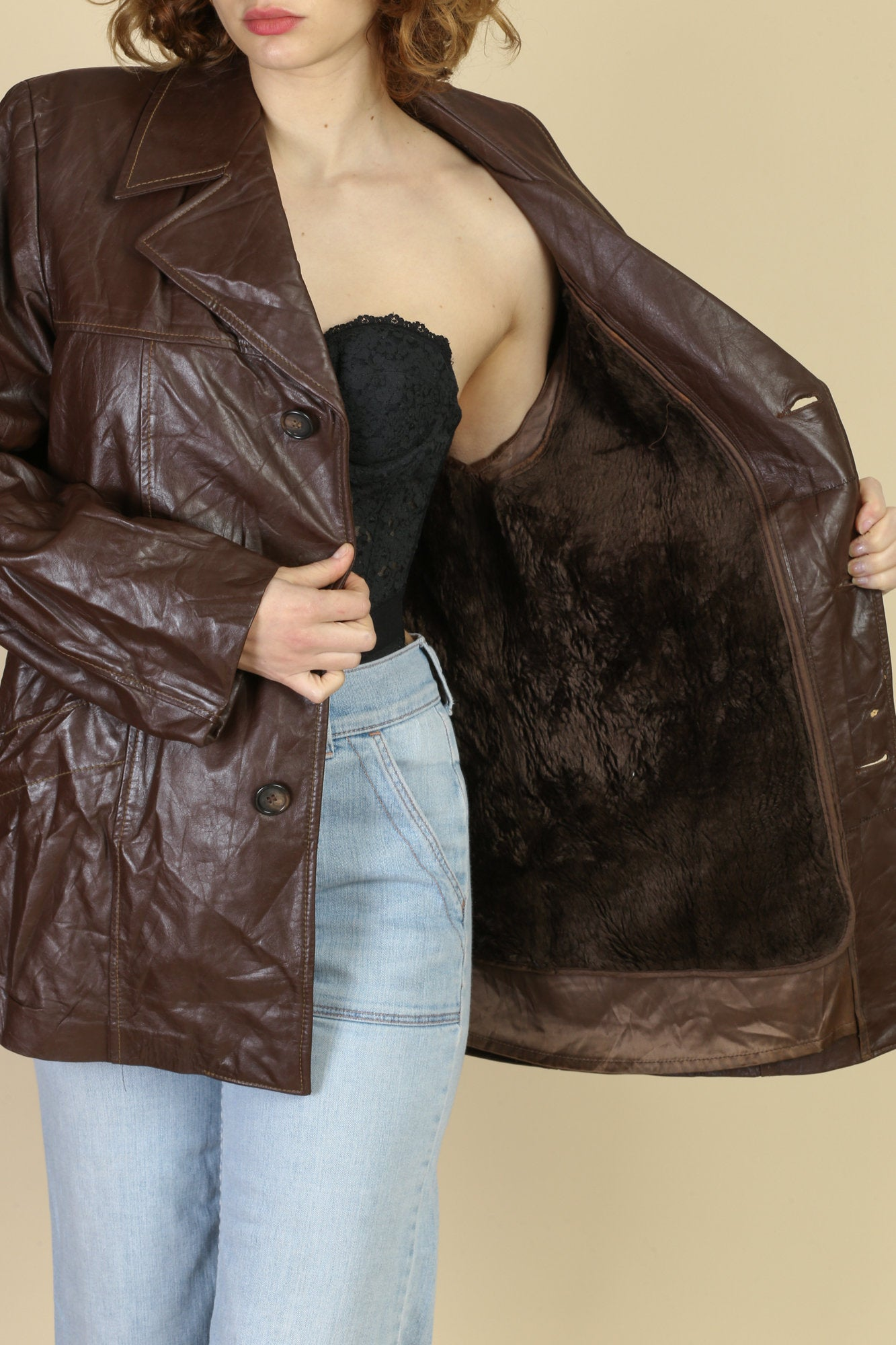 Vintage Cresco Brown Leather Faux Fur Lined Coat - 42, Men's Large