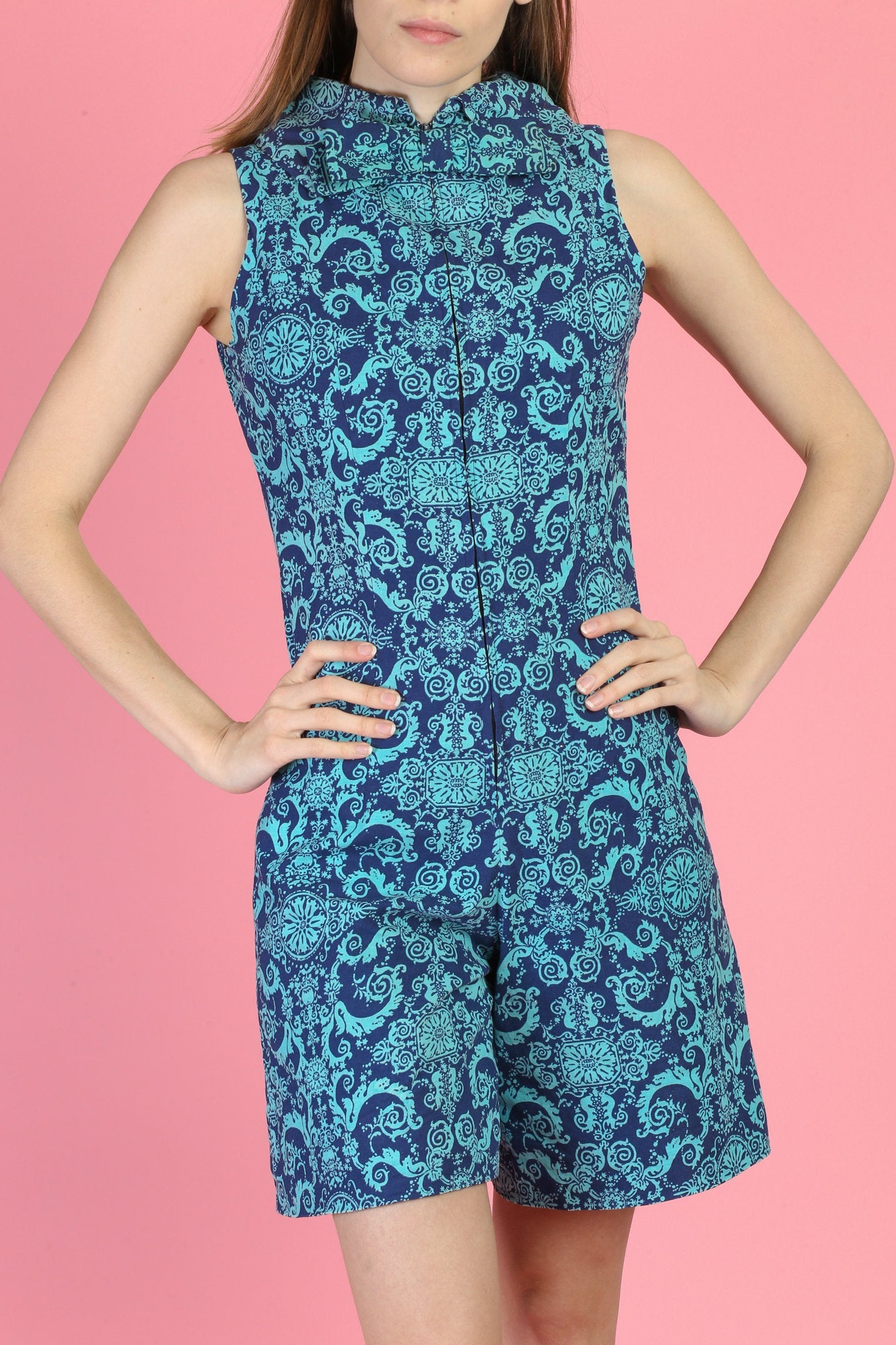 Vintage 60s Blue Bow Tie Romper - Small