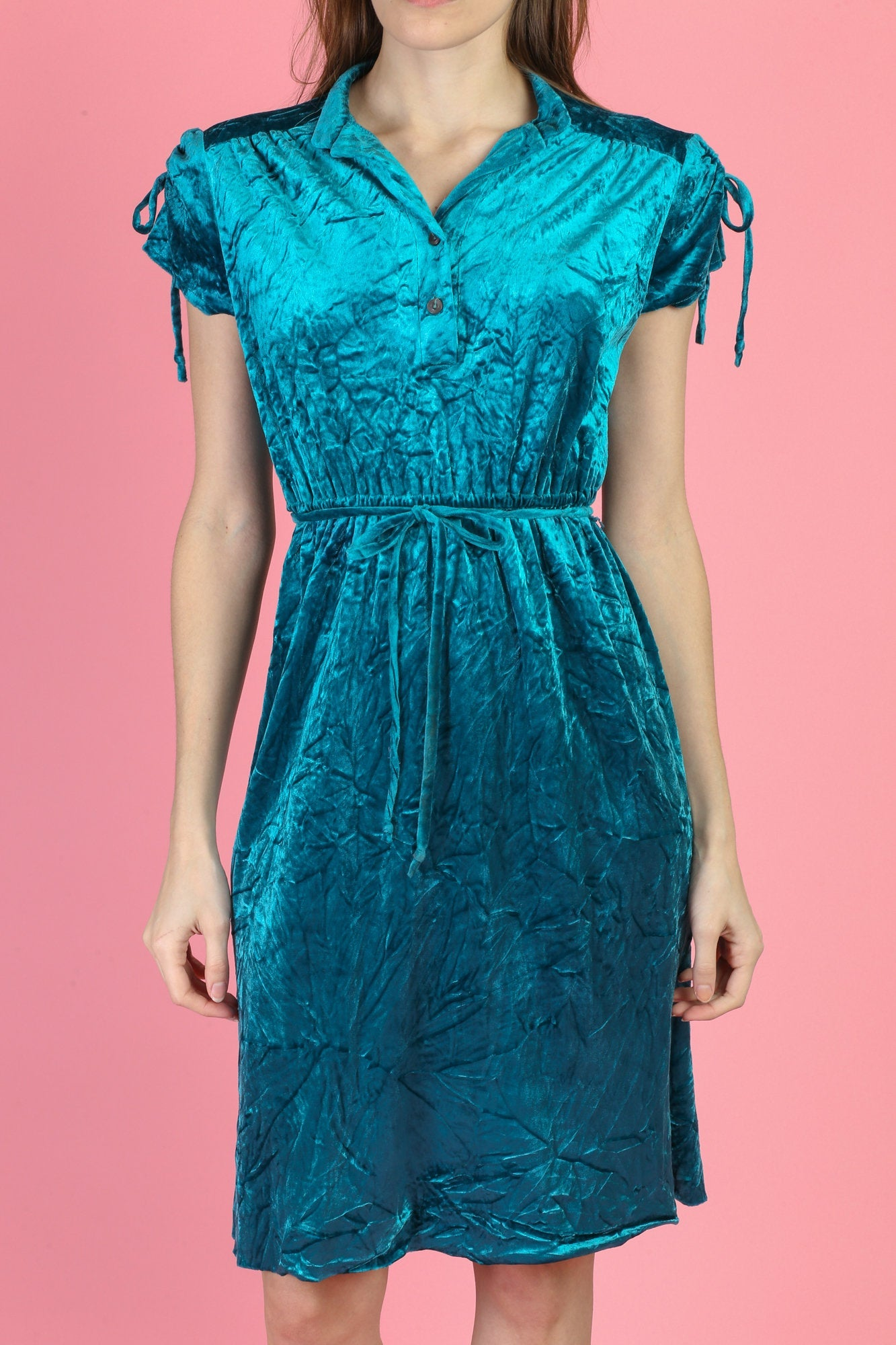 70s Blue Crushed Velvet Mini Dress - Small