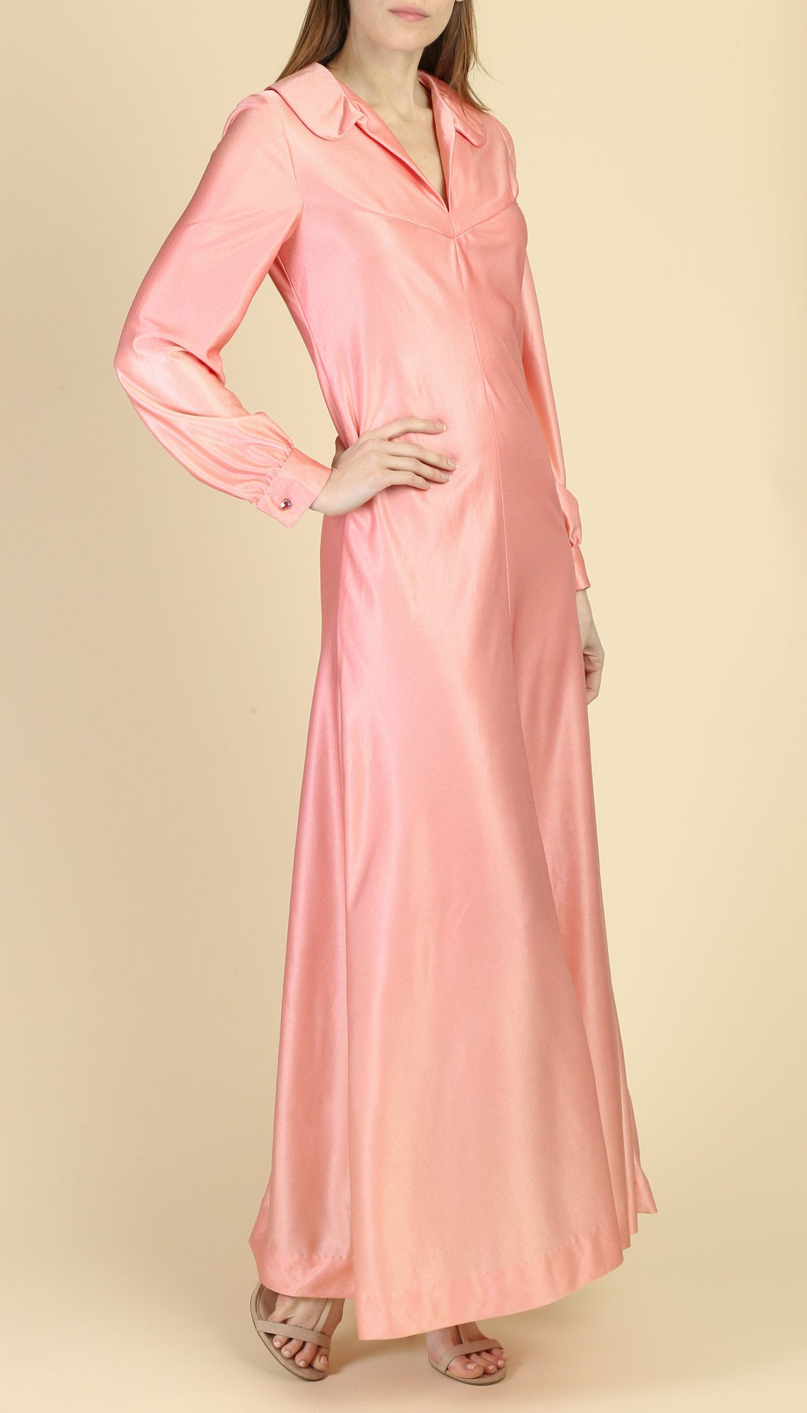70s Pink Maxi Disco Gown - Medium