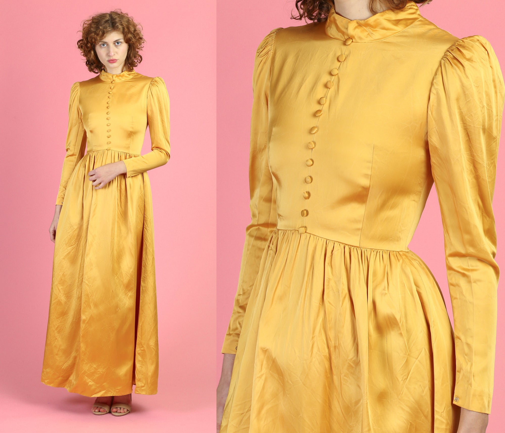 1950s Canary Yellow Satin Maxi Dress - Extra Small