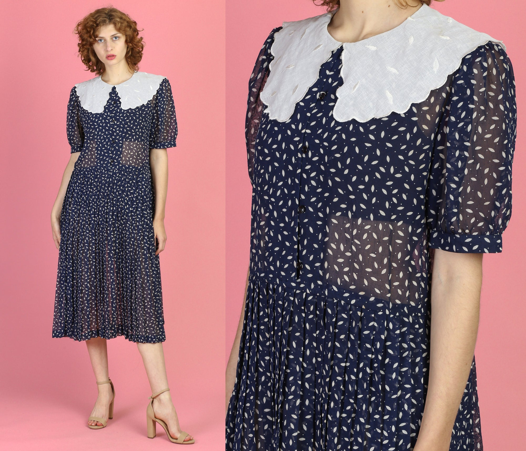 80s Sheer Sailor Collar Midi Dress - Large