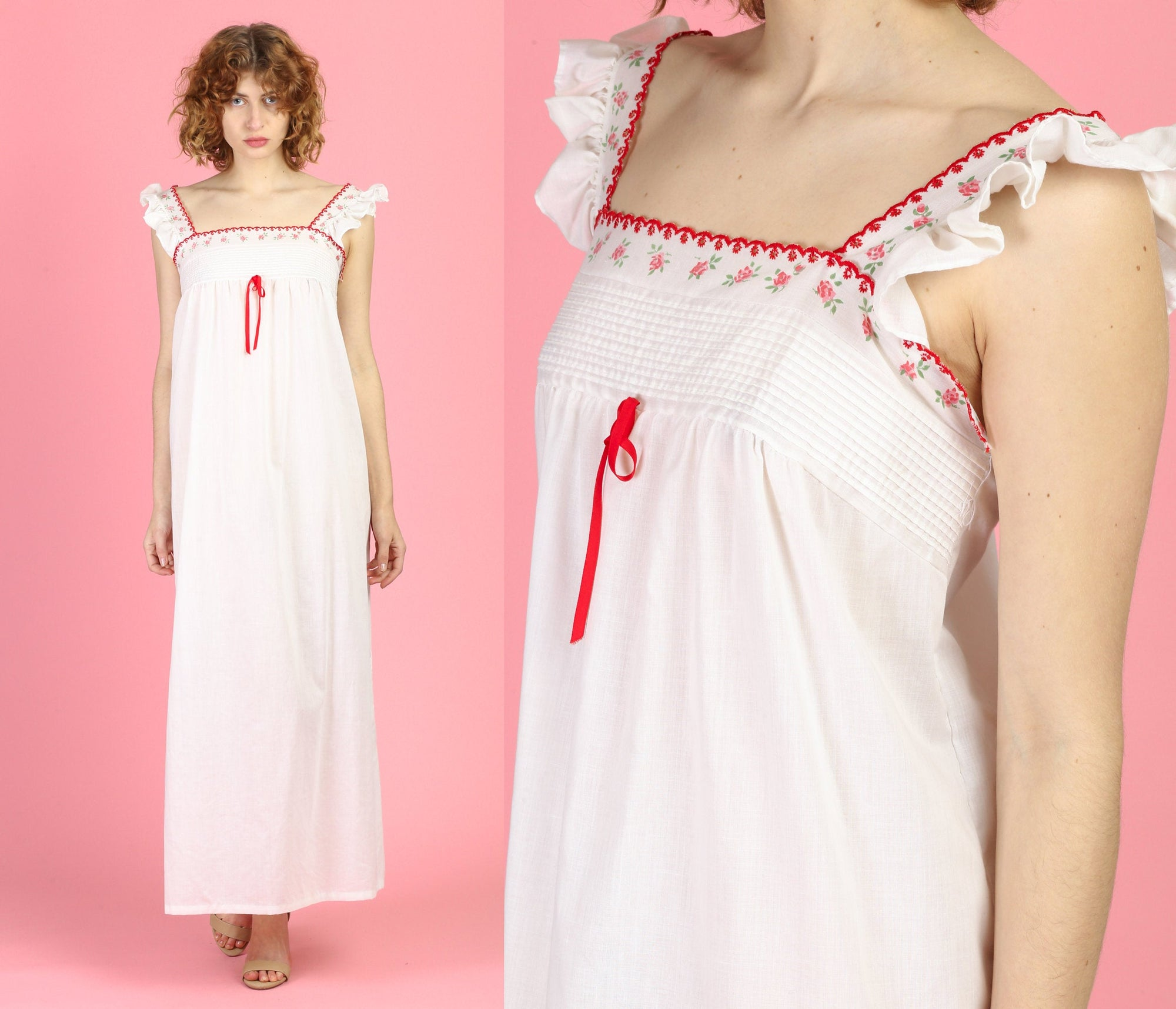 70s White & Red Floral Trim Nightgown - Small