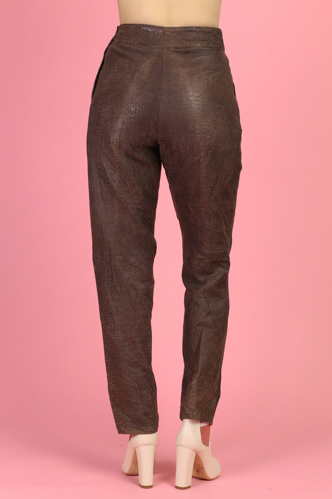 80s Alligator Embossed Leather Trousers - Small