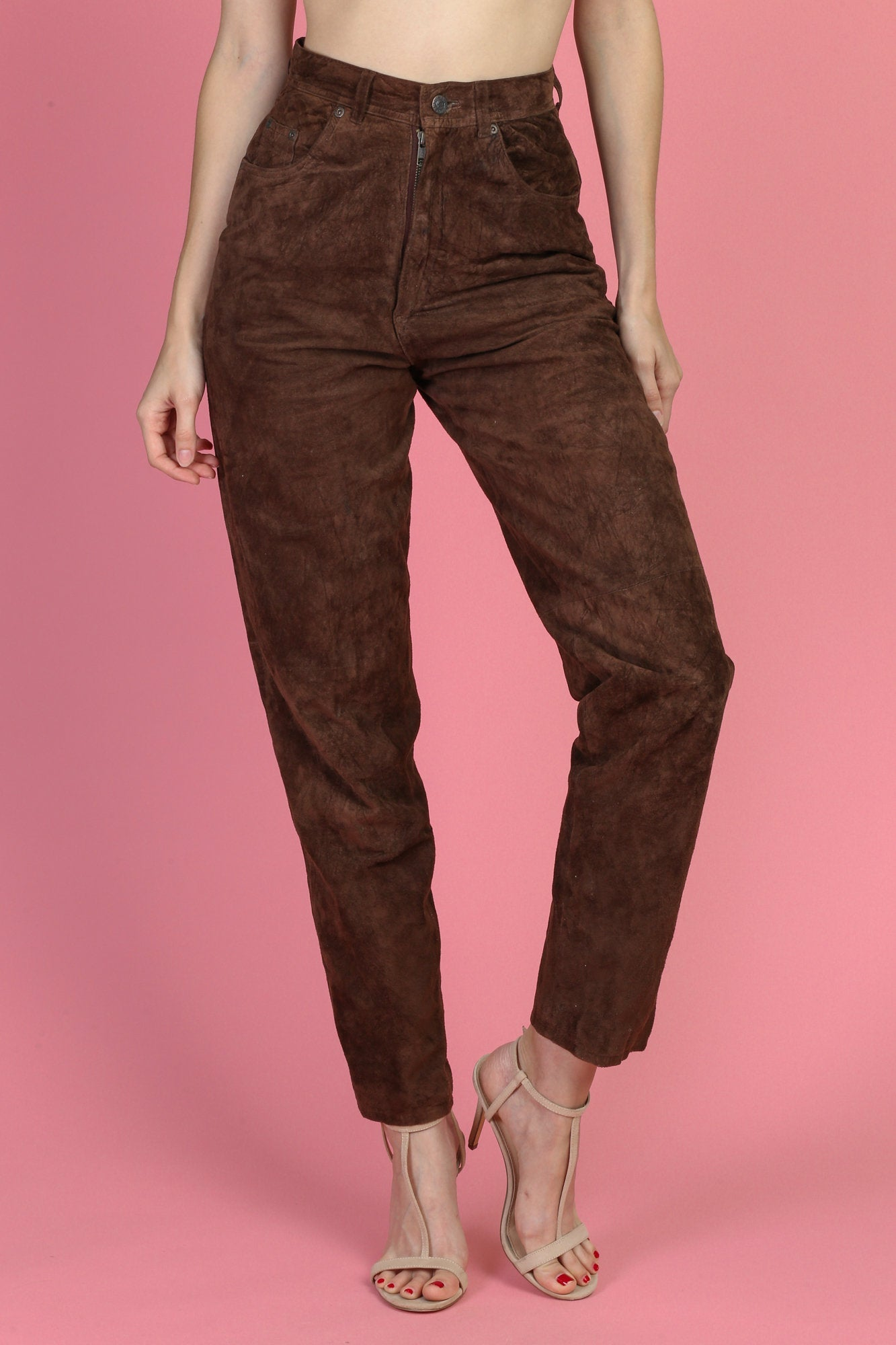 Vintage Suede High Waist Pants - Small, Size 6