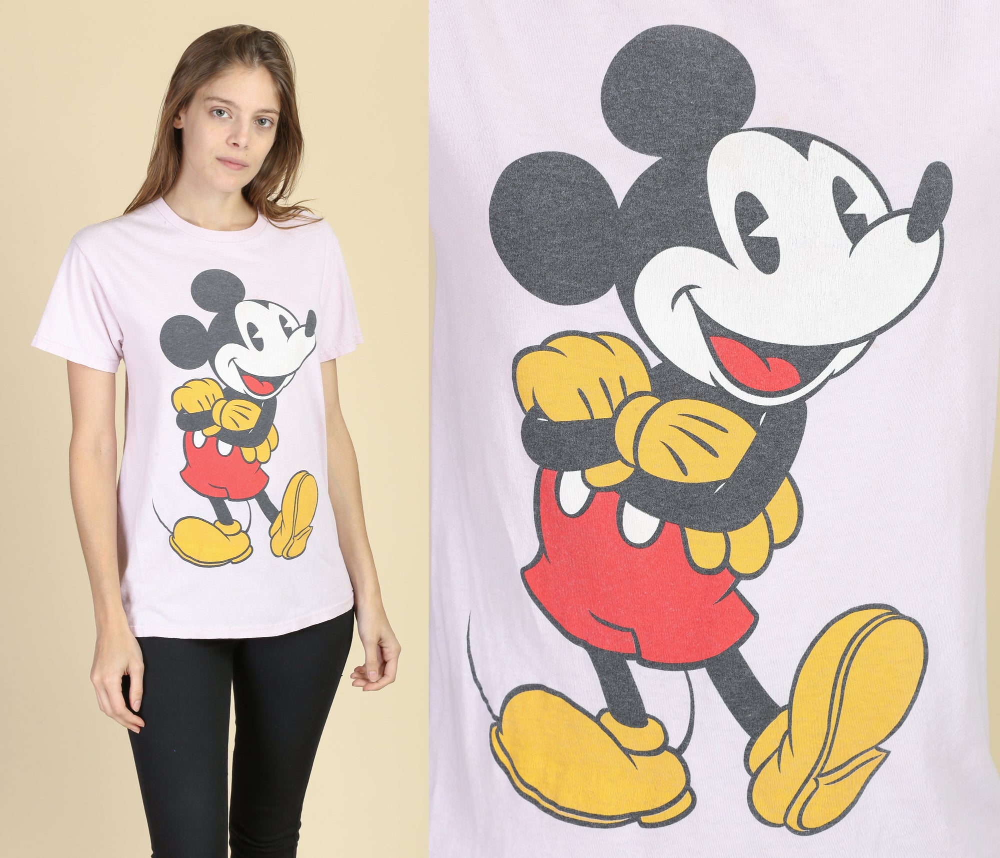 90s Pink Mickey Mouse T Shirt - Small