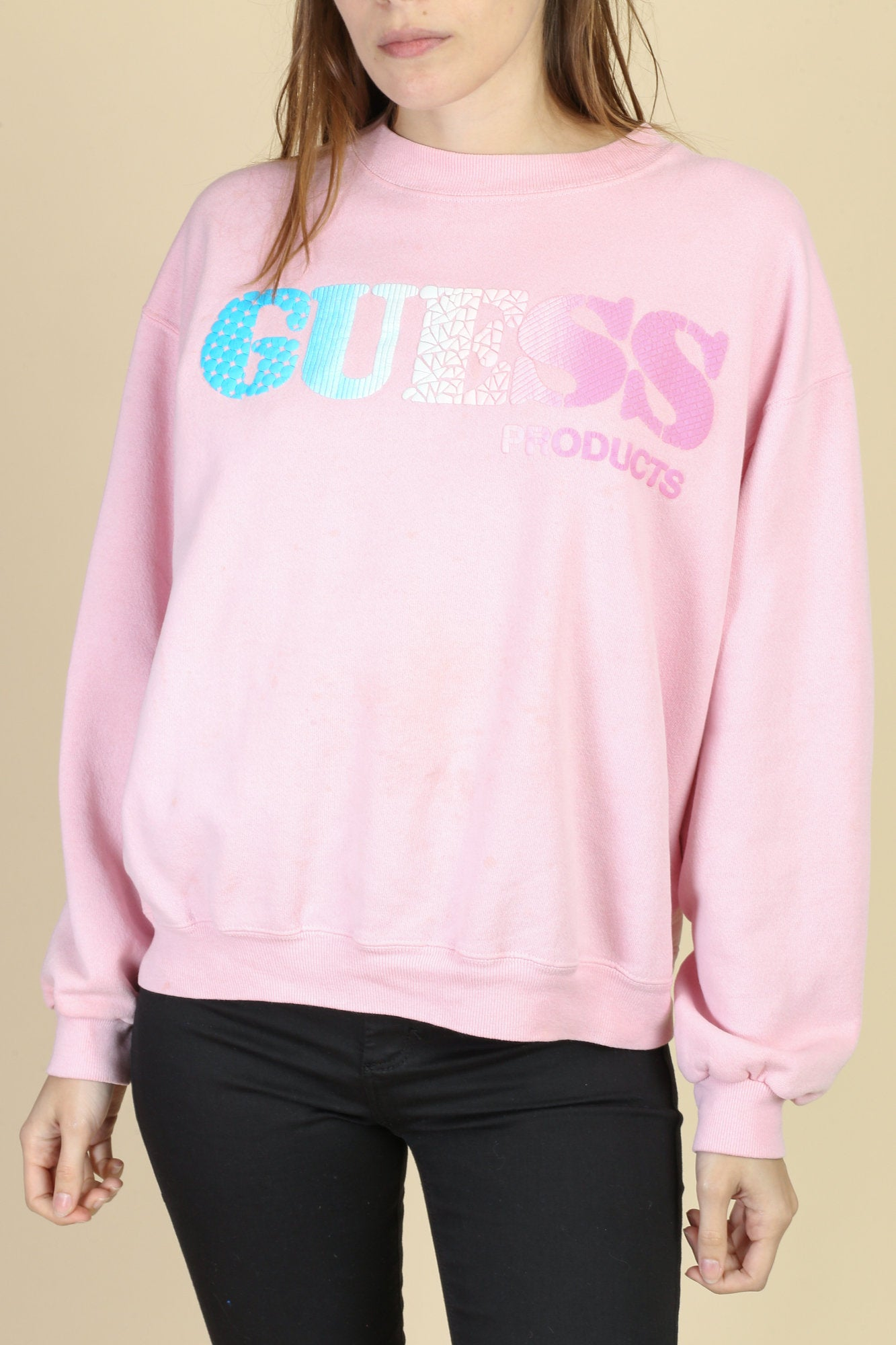 90s Pink Guess Sweatshirt - Extra Large