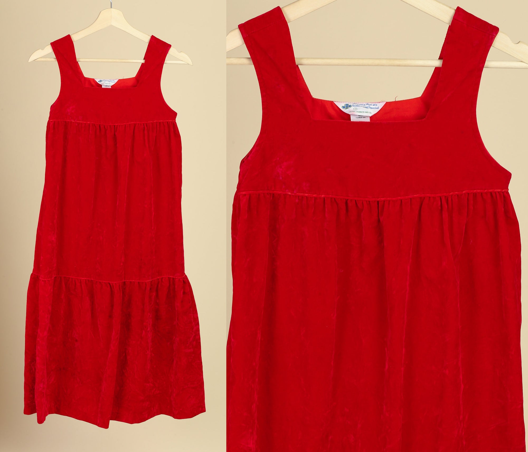 70s Girl's Red Velvet Dress - Size 7