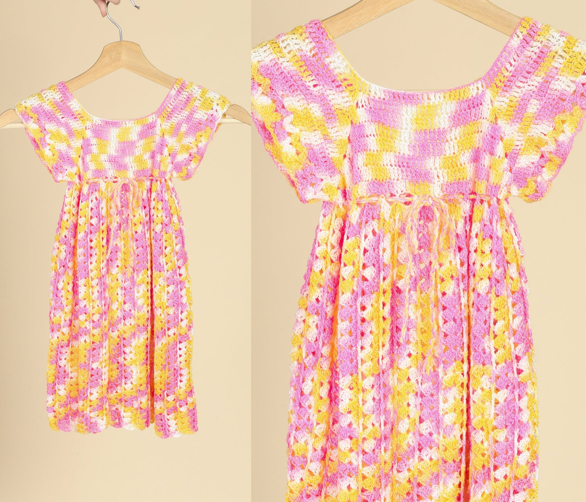 Vintage Colorful Knit Toddler Dress - 2T to 3T