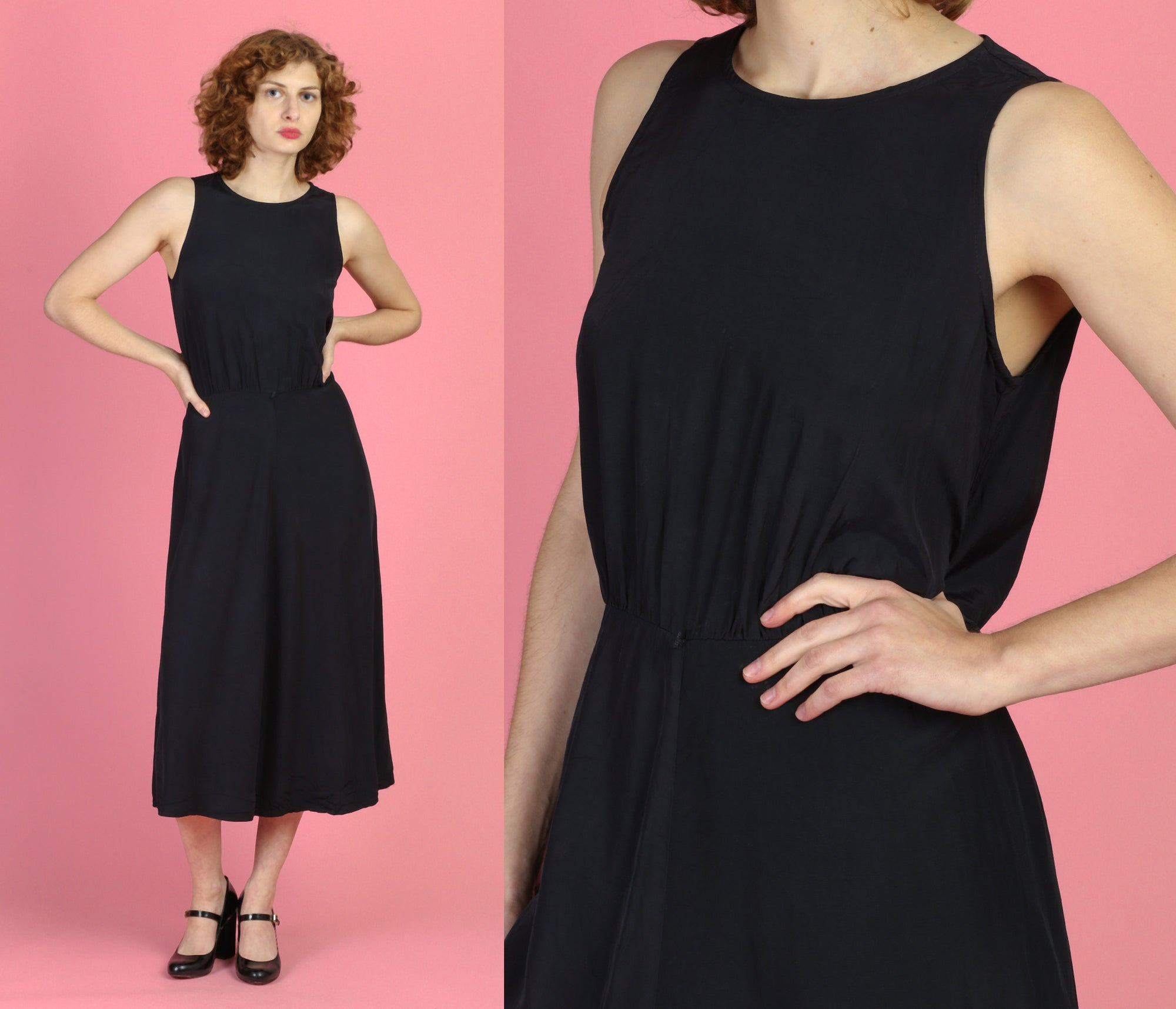 Vintage Paris Sport Club Minimalist Black Midi Dress - Medium