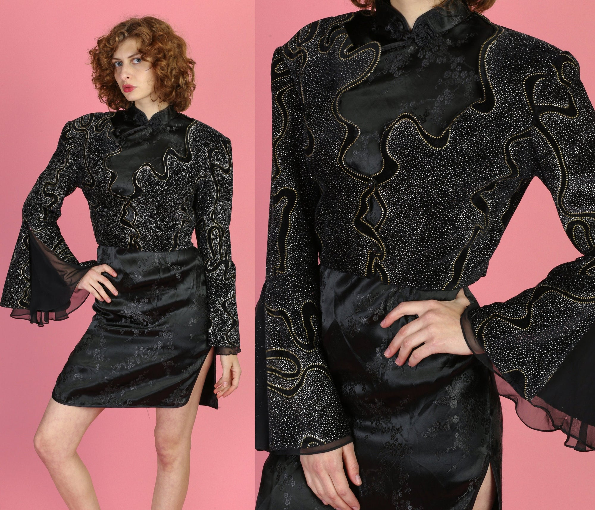 80s Velvet Metallic Cropped Bolero Jacket - Medium