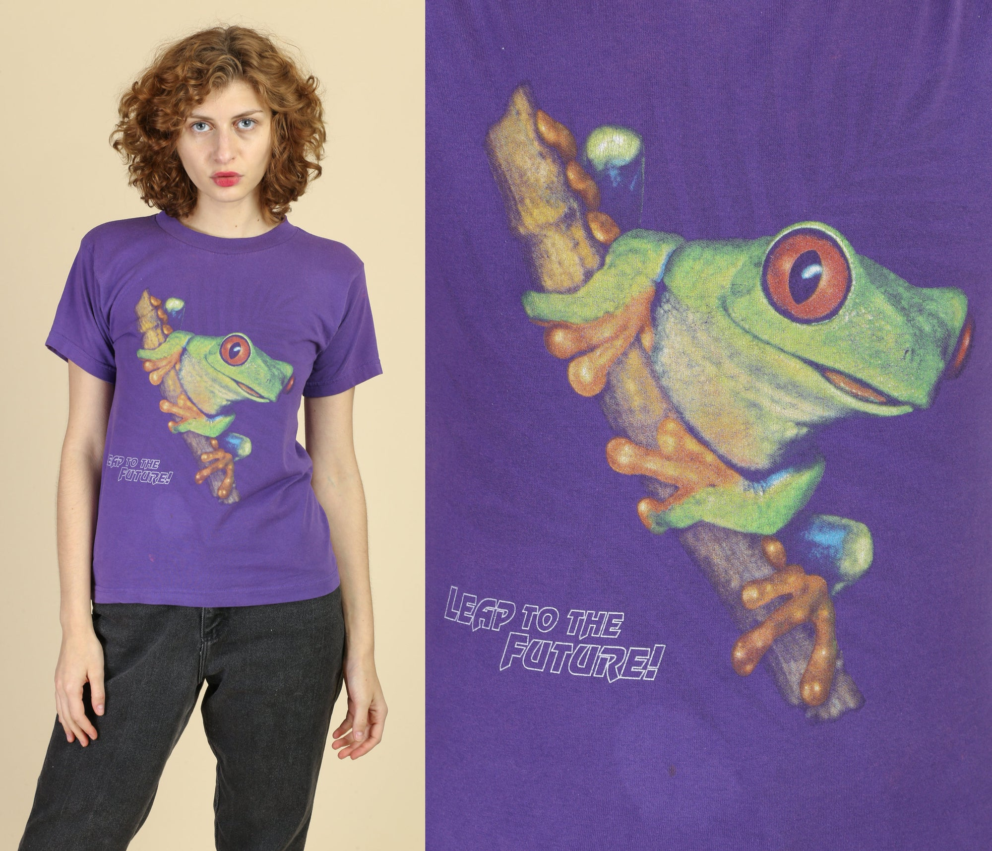 "90s ""Leap to the Future"" Tree Frog T Shirt - Extra Small"