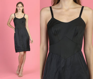 Vintage 50s Black Slip Dress - Small