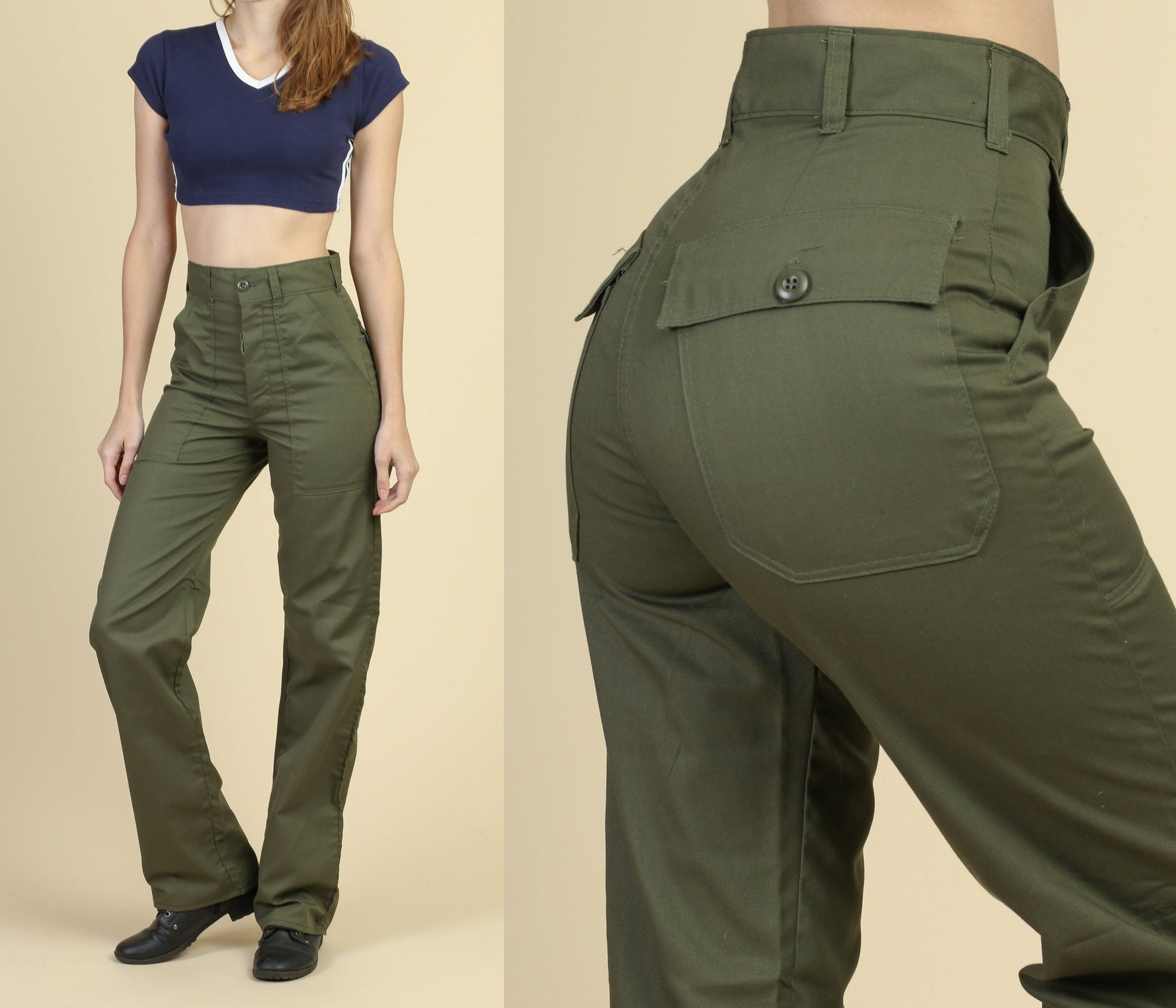 70s Olive Drab High Waist Army Utility Trousers - Small