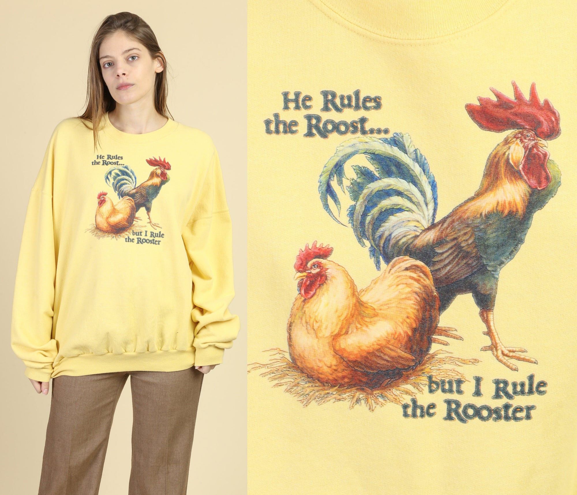 "90s ""I Rule The Rooster"" Sweatshirt - 4XL"