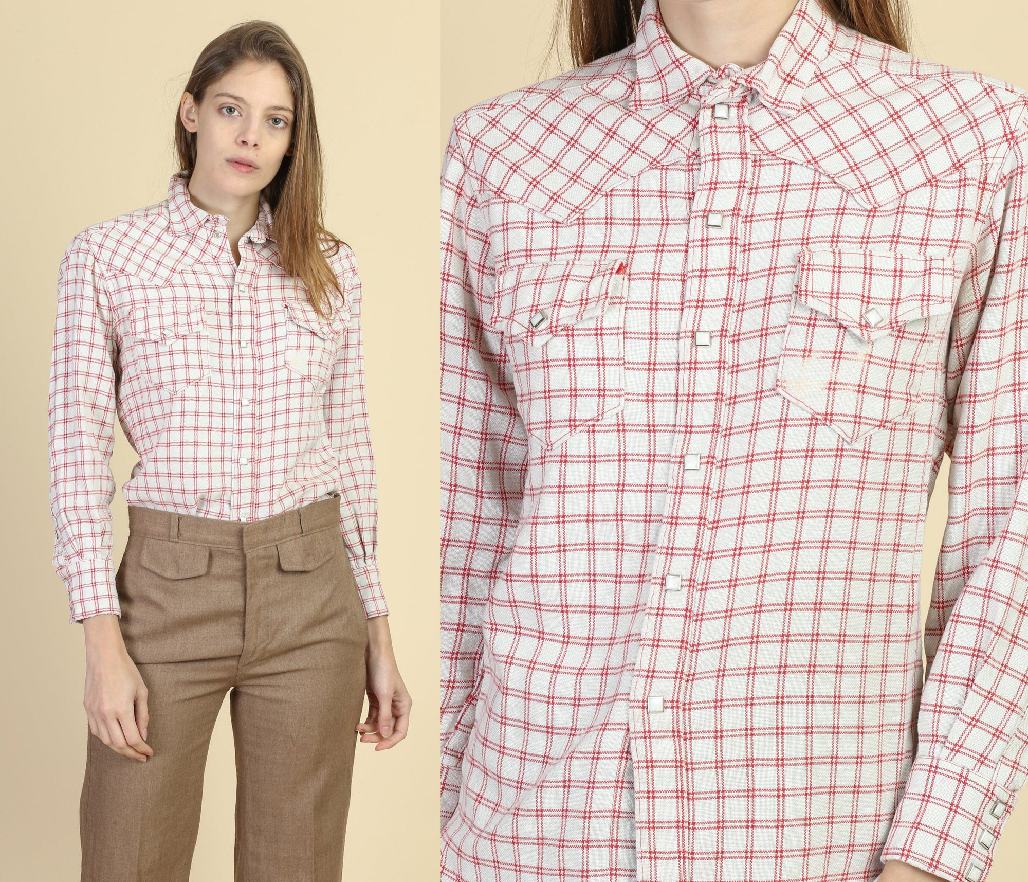 70s Plaid Pearl Snap Western Shirt - Extra Small